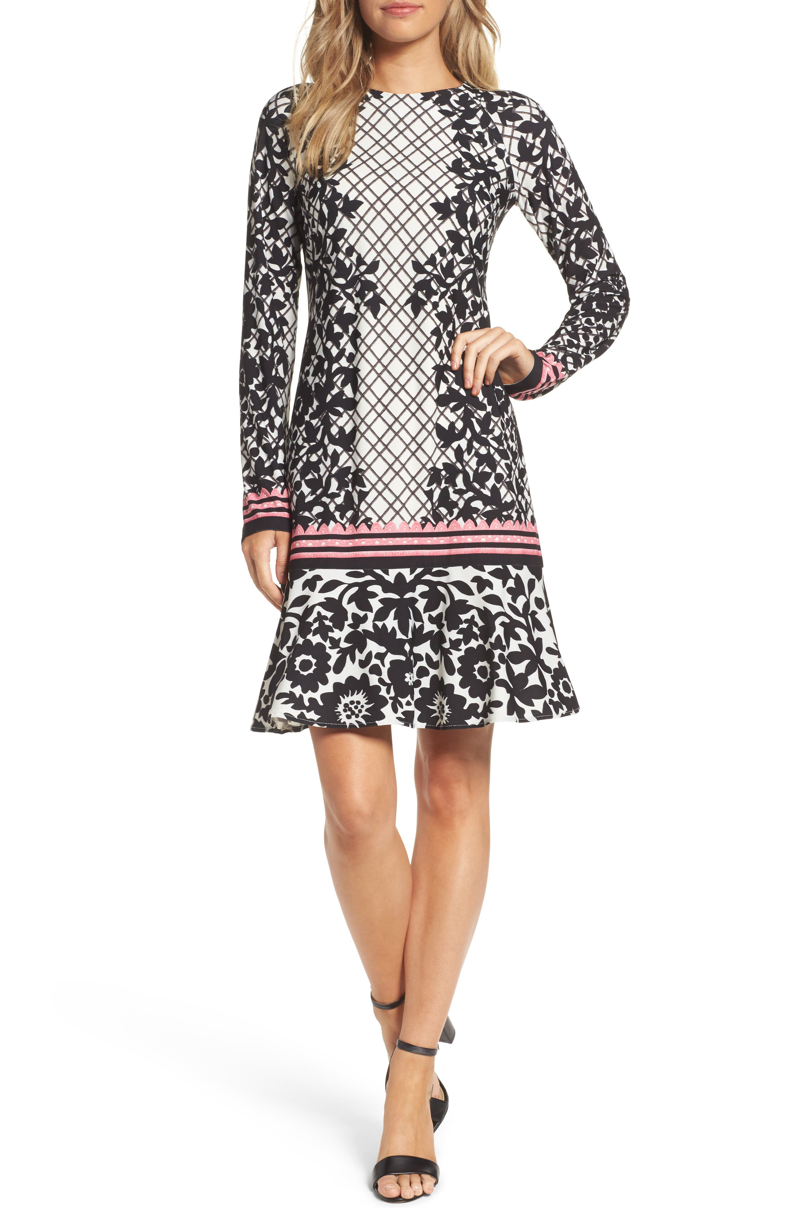 Print Knit Trumpet Dress,                             Main thumbnail 1, color,                             Black/ Pink