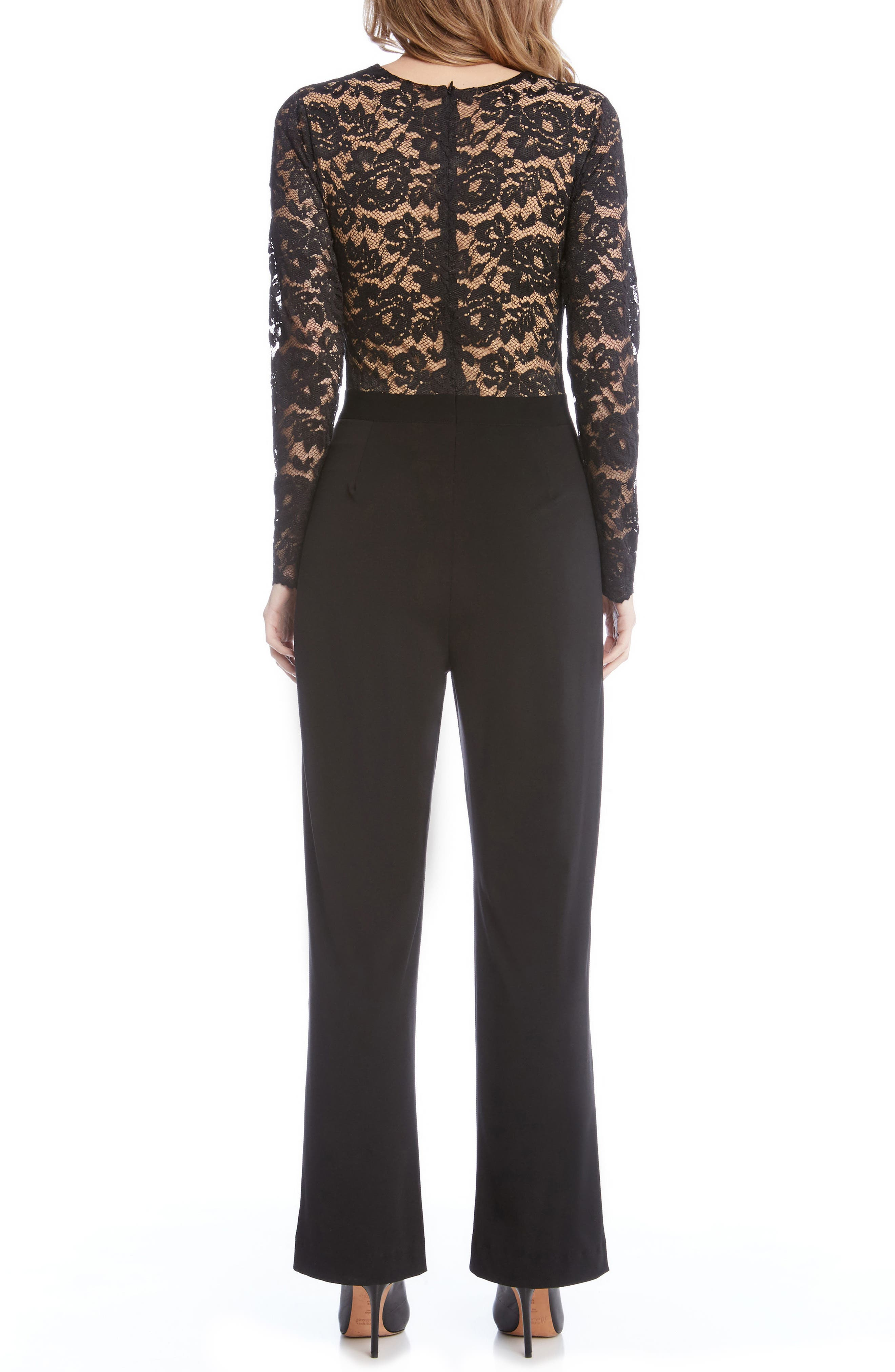 Ava Lace & Knit Jumpsuit,                             Alternate thumbnail 3, color,                             Black