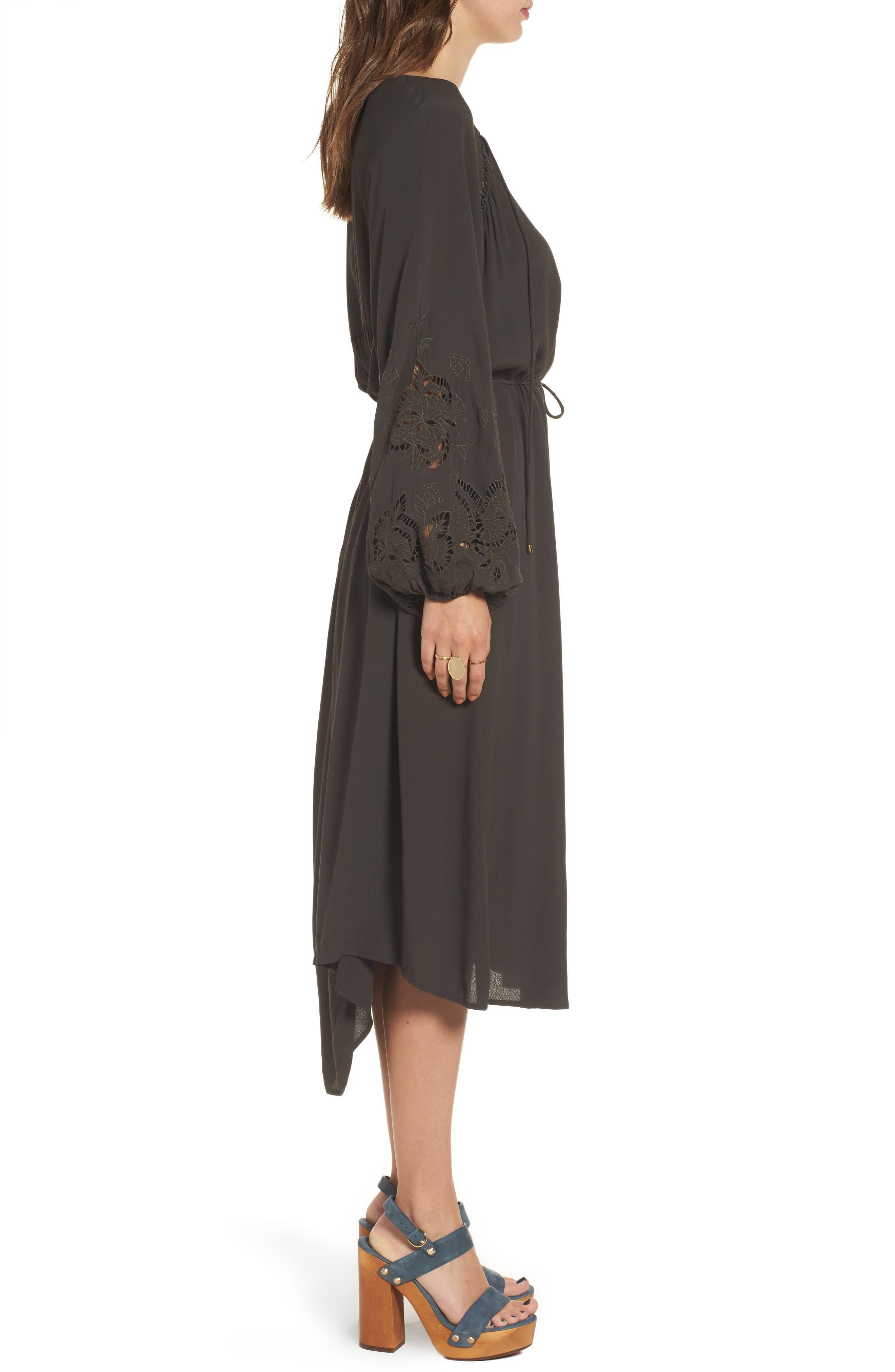 Ava Crochet Detail Dress,                             Alternate thumbnail 5, color,                             Dark Slate