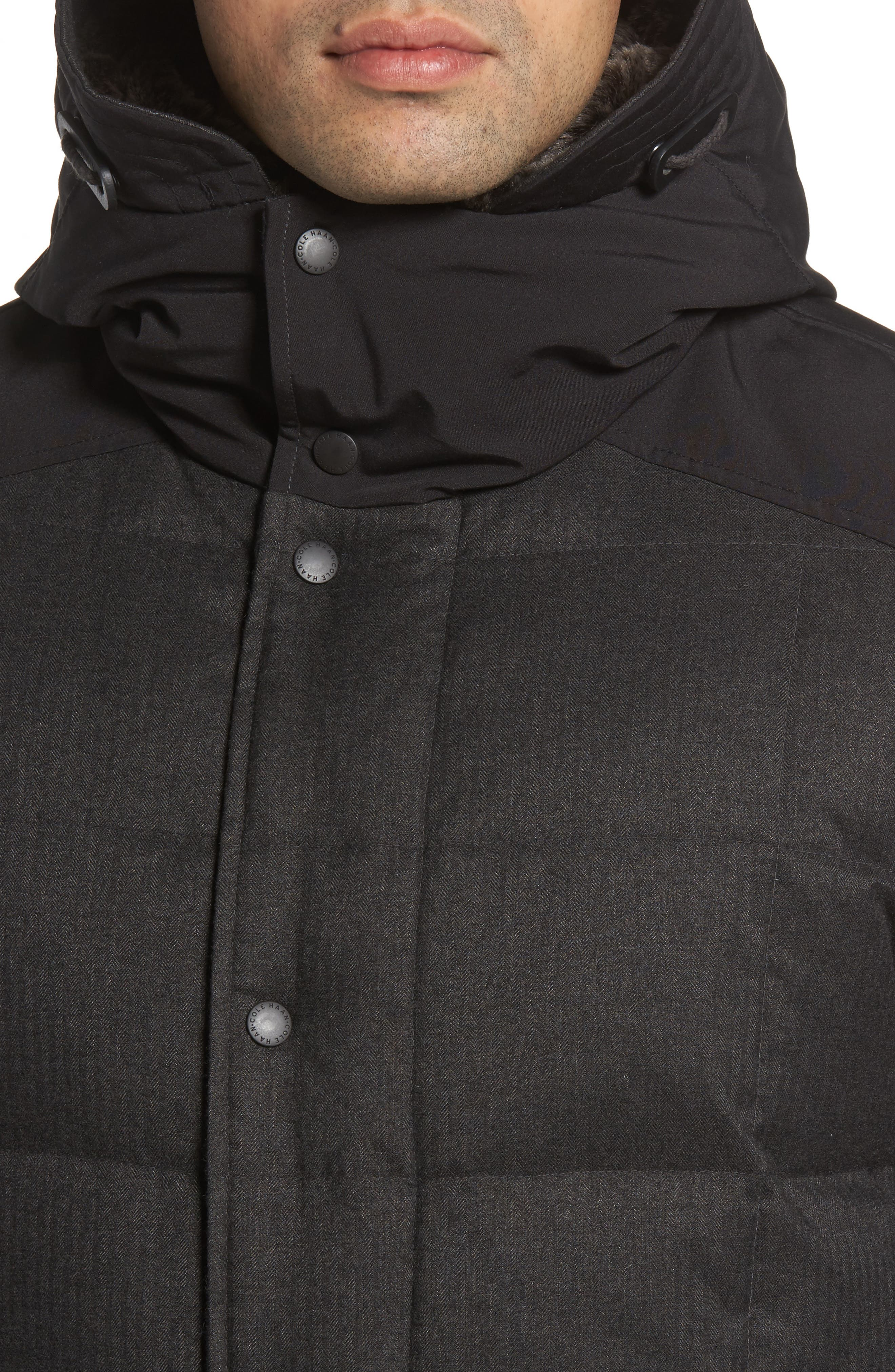 Alternate Image 4  - Cole Haan Faux Fur Trim Mixed Media Hooded Down Jacket