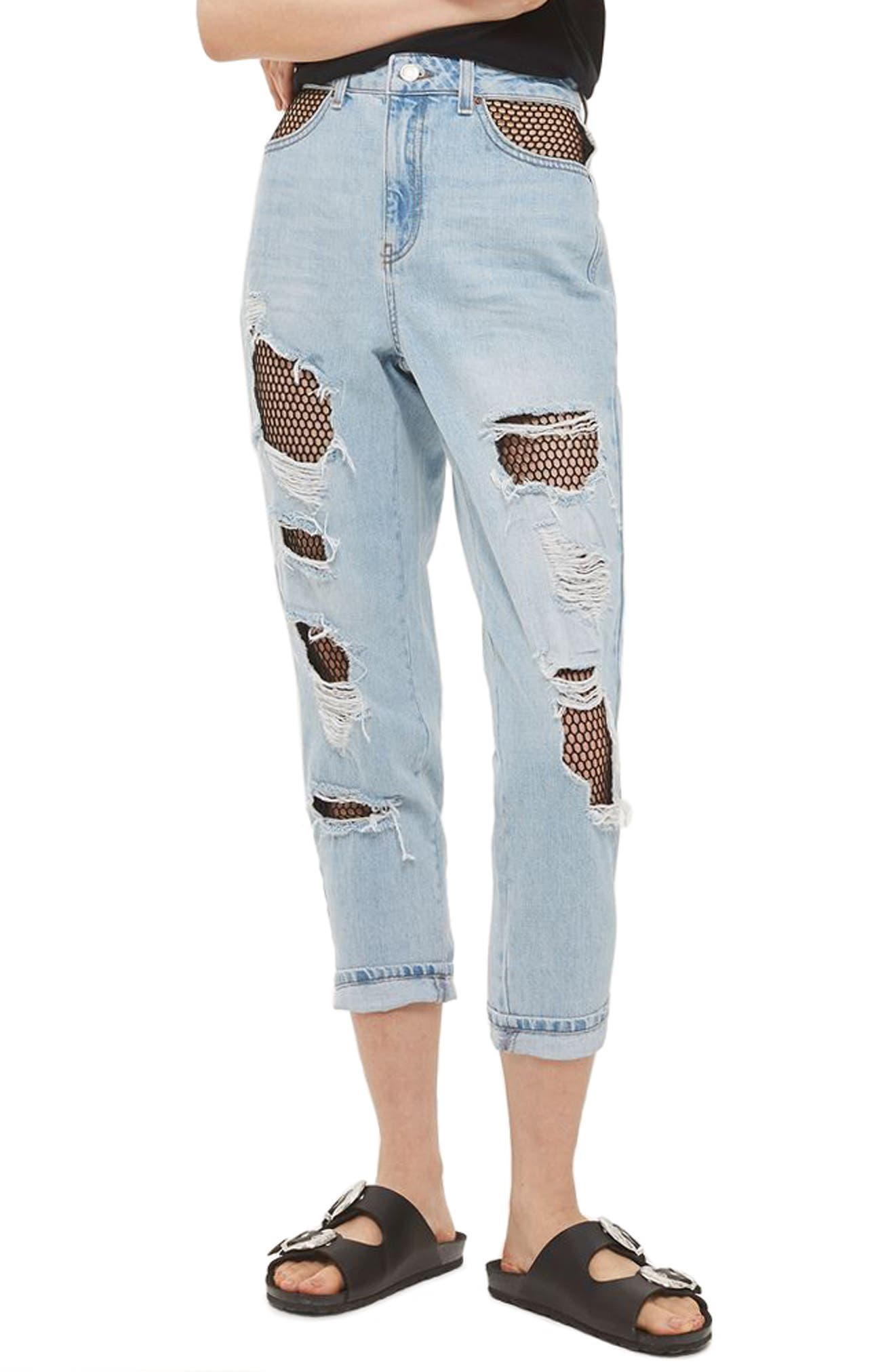 Main Image - Topshop Fishnet Rip Mom Jeans