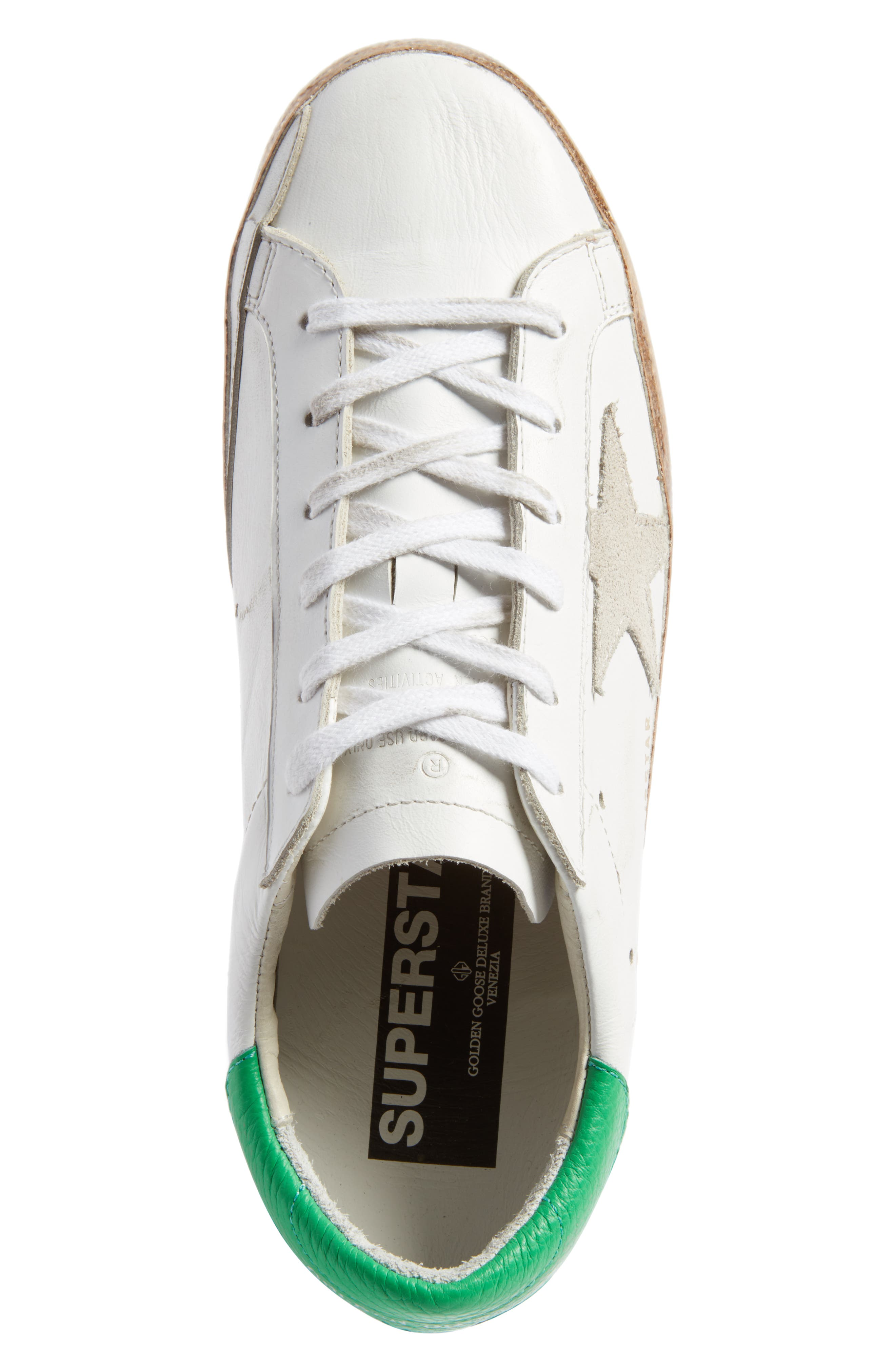 Superstar Low Top Sneaker,                             Alternate thumbnail 5, color,                             White Leather/ Gold