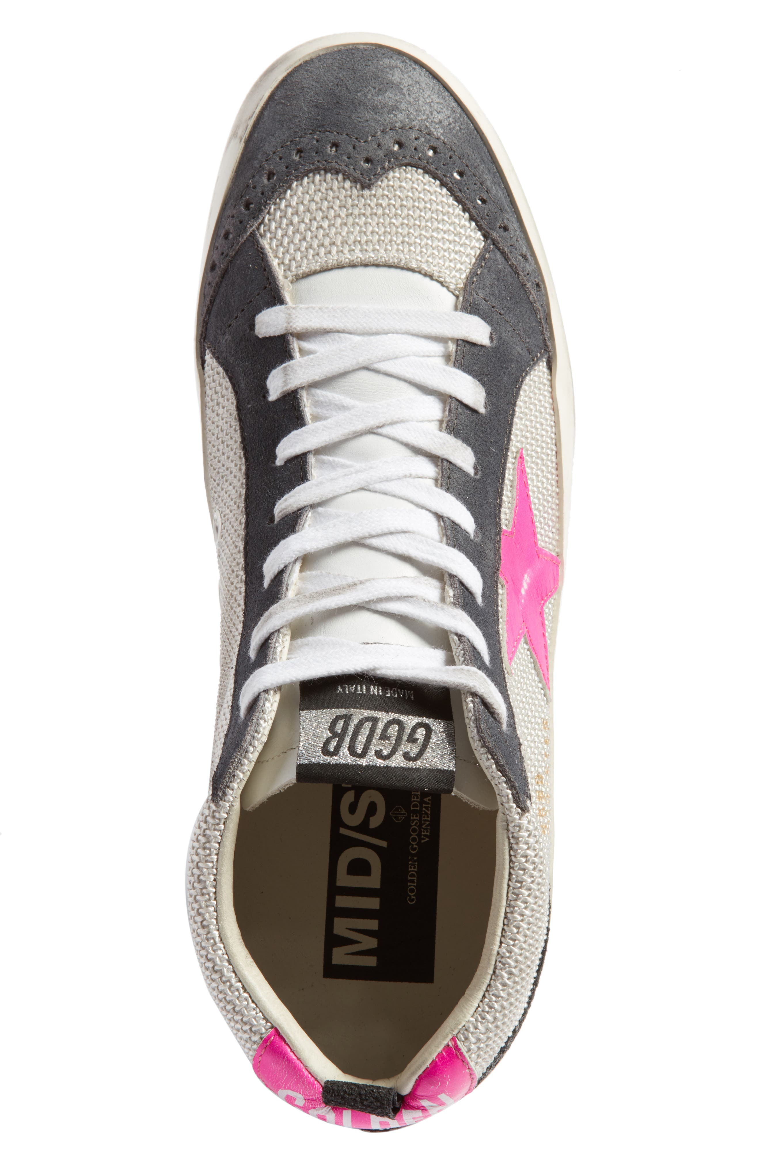 Star Mid Top Sneaker,                             Alternate thumbnail 5, color,                             Grey/ Pink