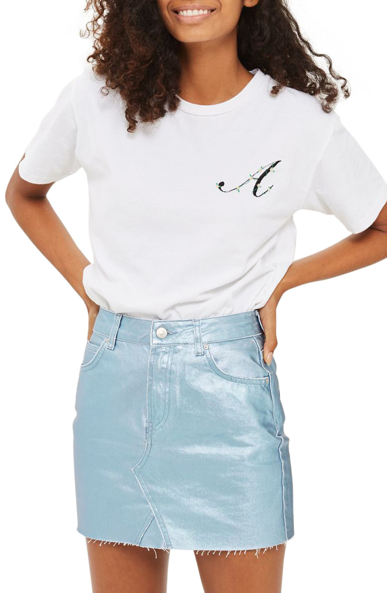 TOPSHOP Initial Embroidered Tee