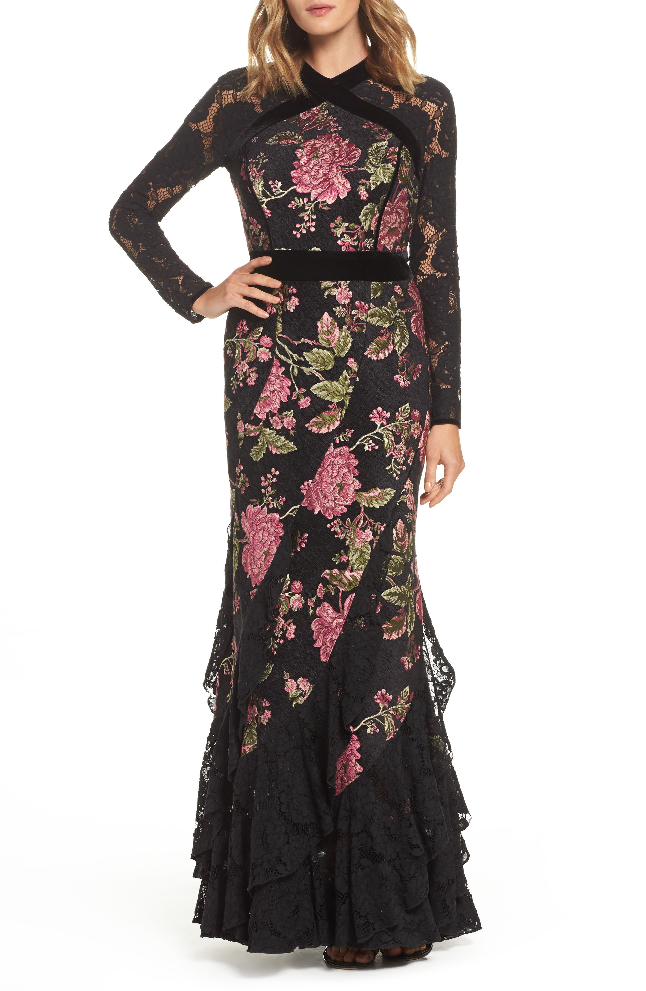 Lace & Brocade Mermaid Gown,                             Main thumbnail 1, color,                             Black