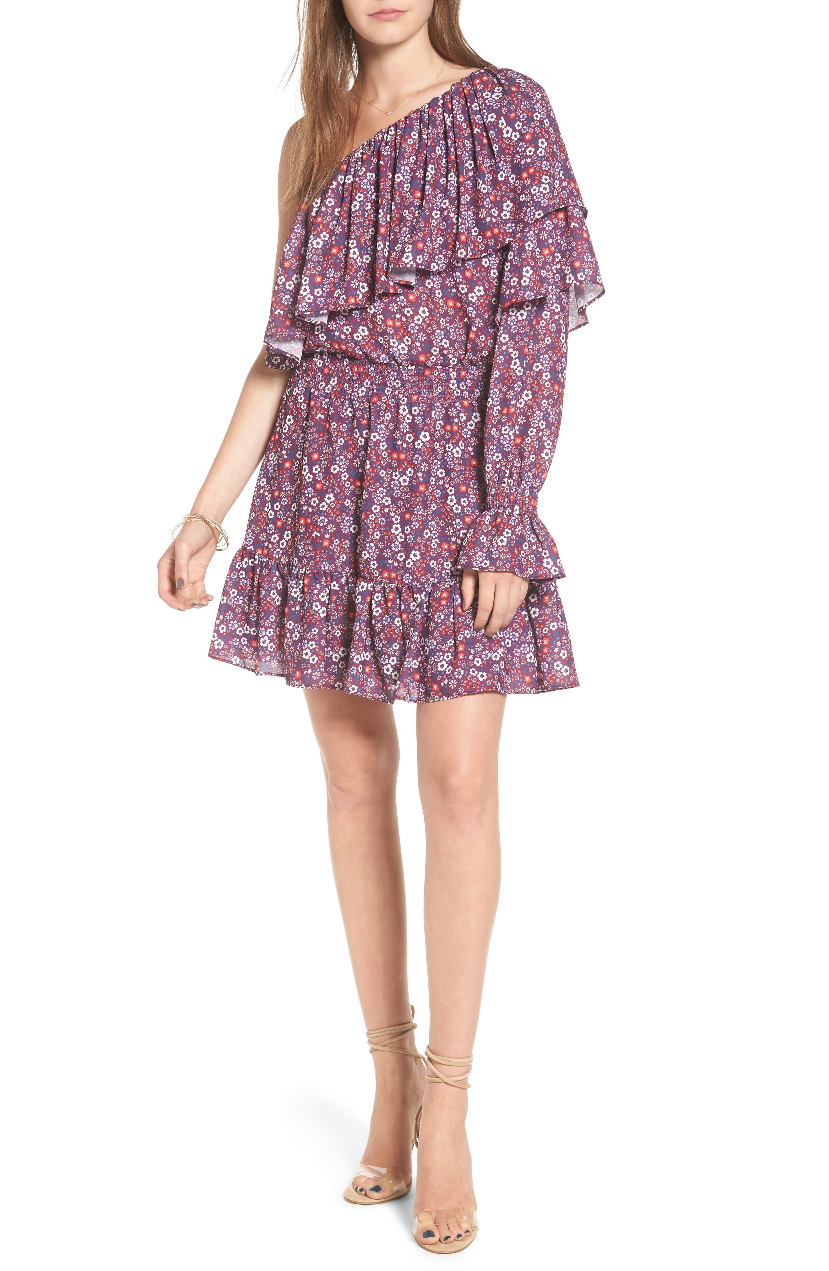 Irina One-Shoulder Blouson Dress,                             Main thumbnail 1, color,                             Magnolia