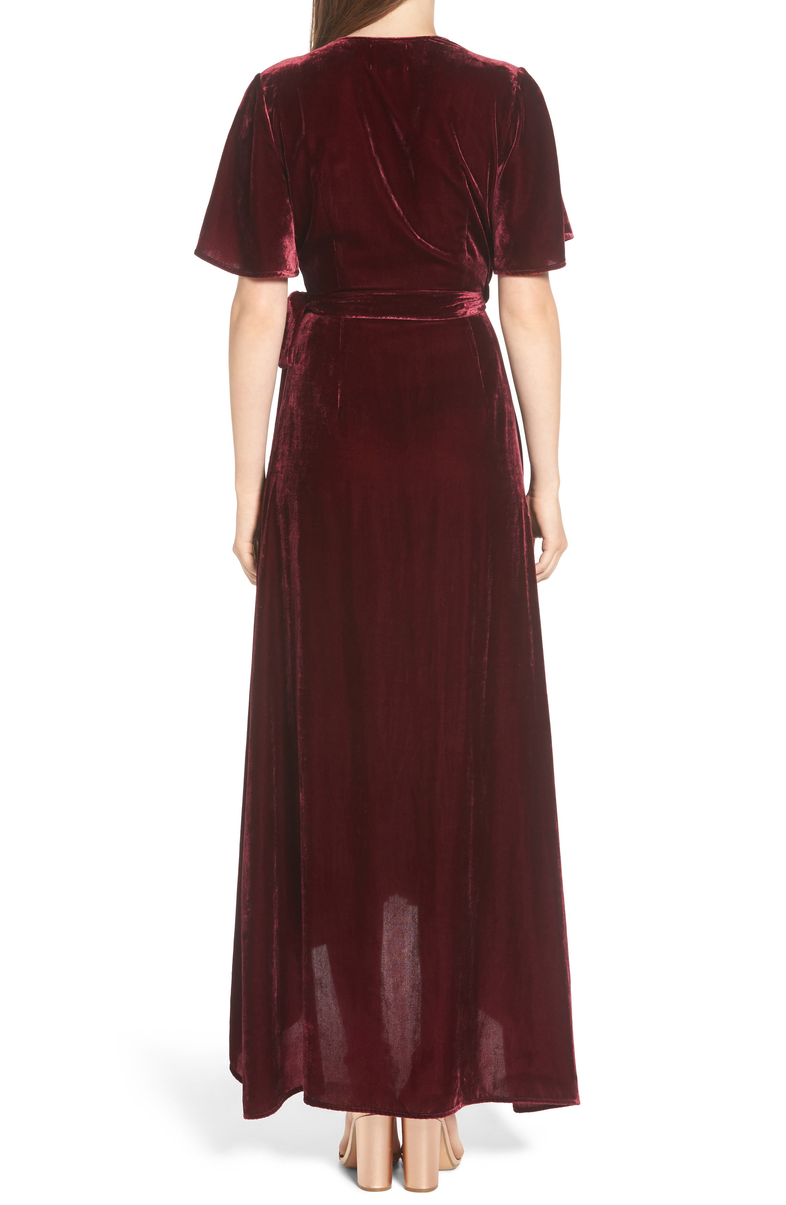 Velvet Wrap Maxi Dress,                             Alternate thumbnail 3, color,                             Burgundy