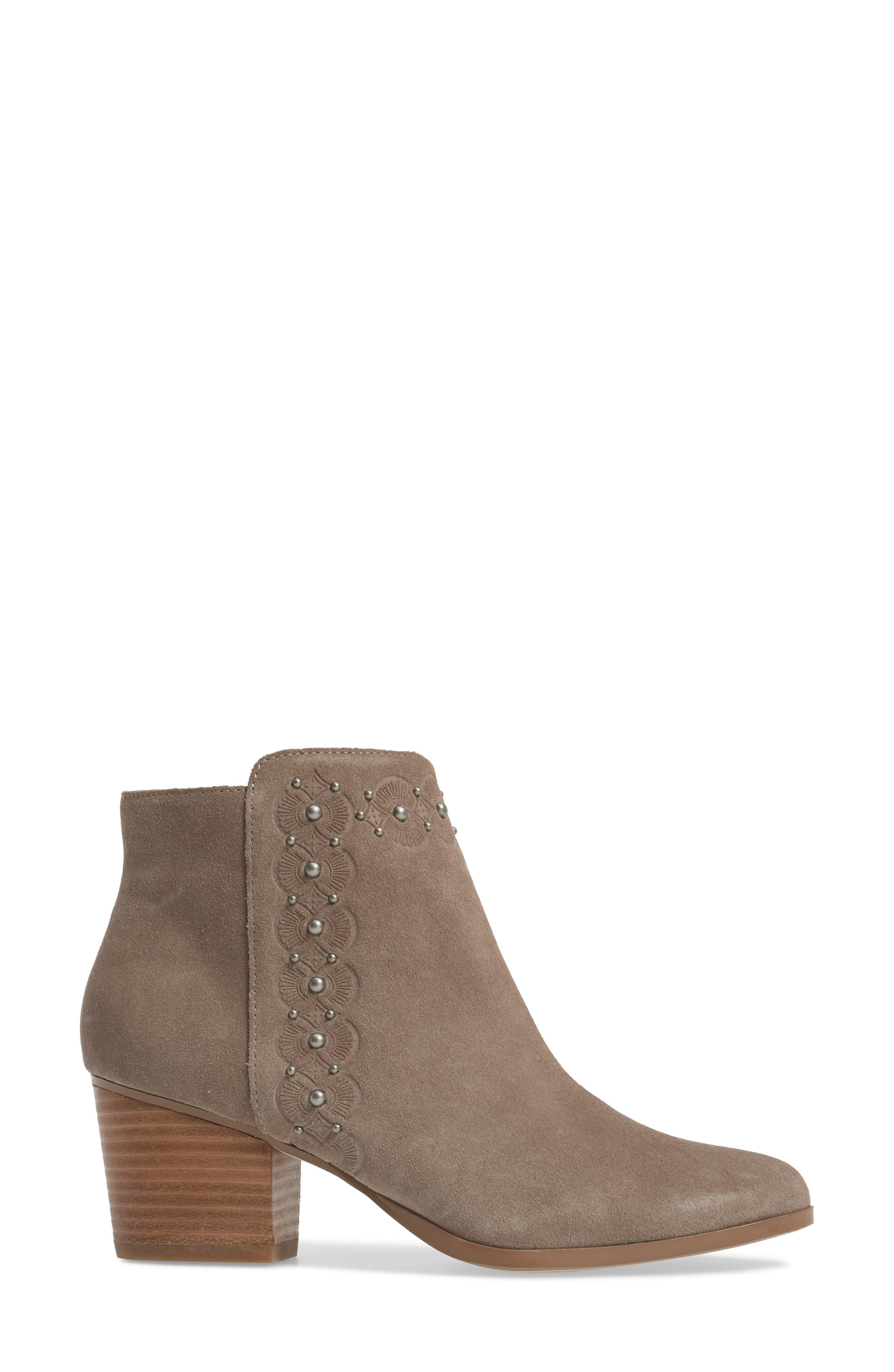 Gala Studded Embossed Bootie,                             Alternate thumbnail 3, color,                             Mushroom Suede