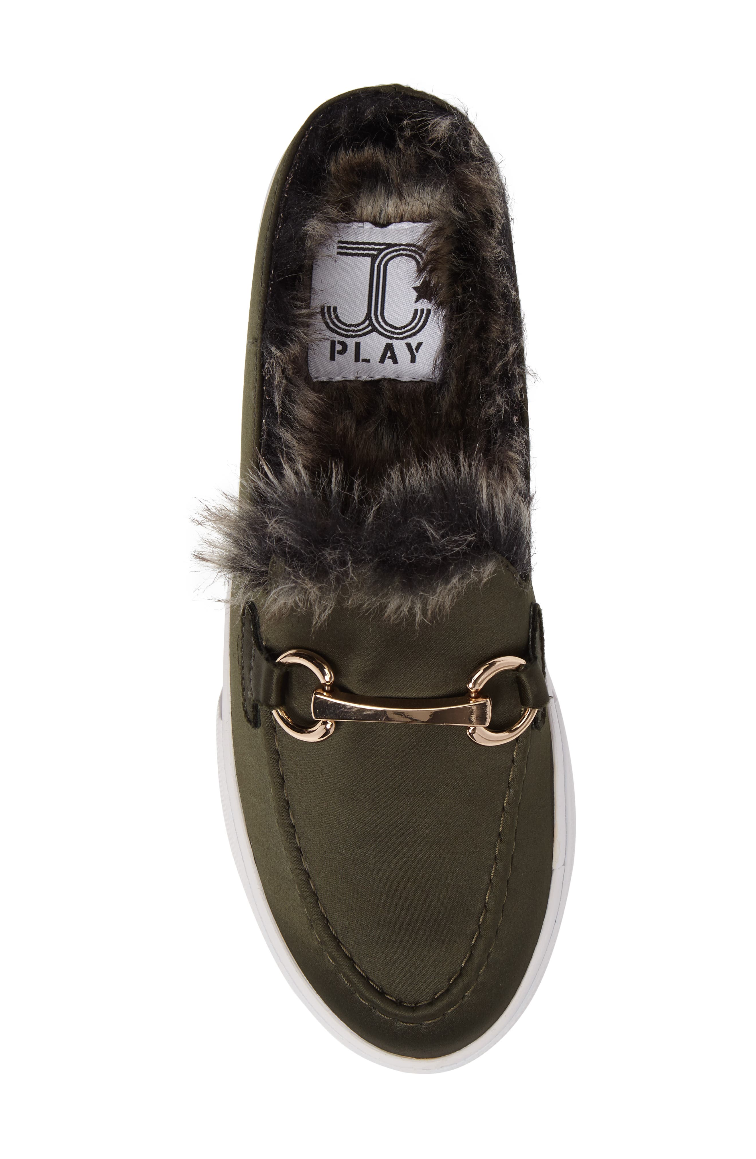 Tico Faux Fur Sneaker Mule,                             Alternate thumbnail 5, color,                             Olive Satin-Gold-Grey