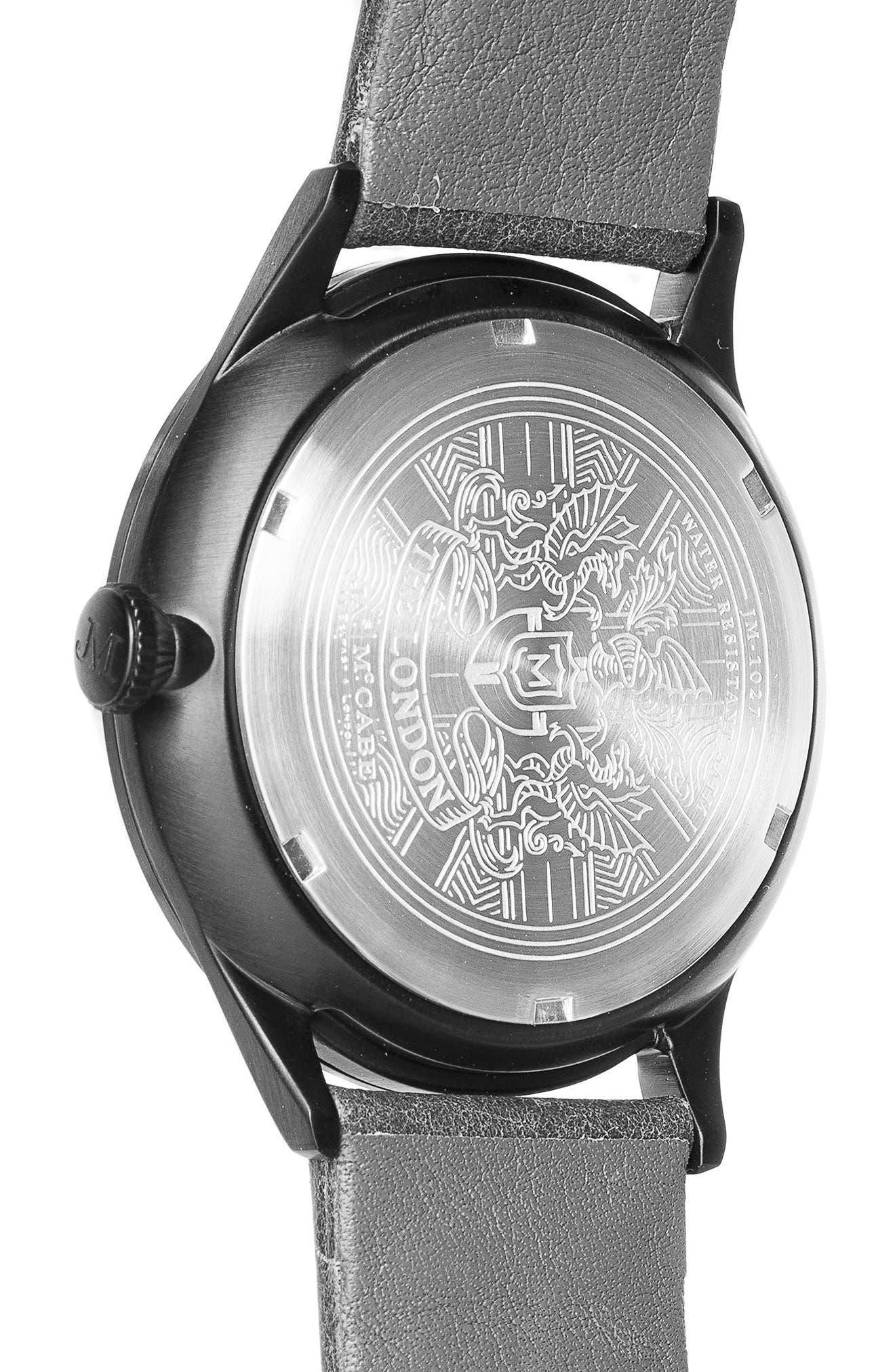 Alternate Image 2  - James McCabe London Slim Leather Strap Watch, 43mm