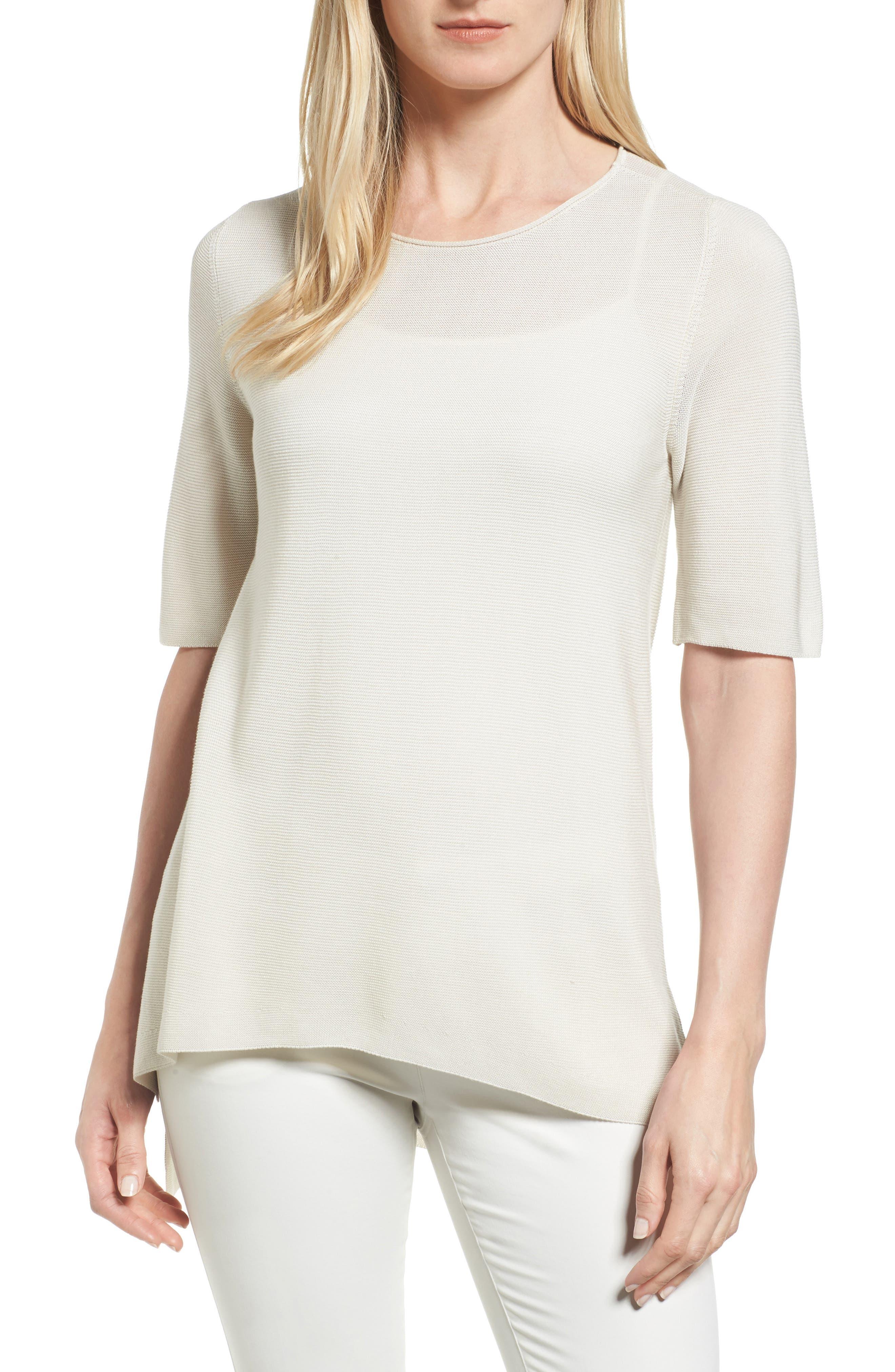 Alternate Image 1 Selected - Eileen Fisher Tencel® Knit Top (Regular & Petite)