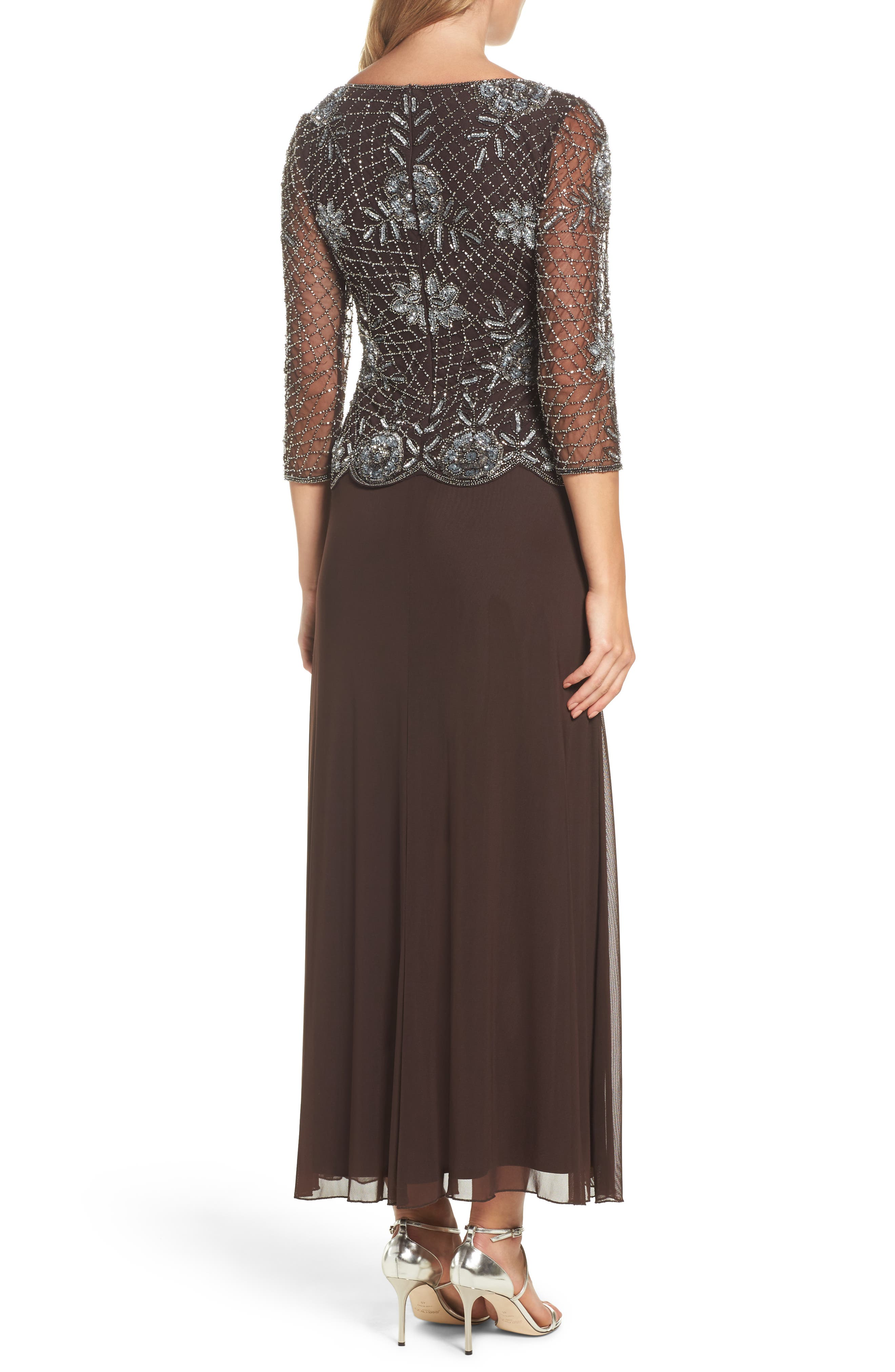 Embellished Mesh Gown,                             Alternate thumbnail 2, color,                             Chocolate