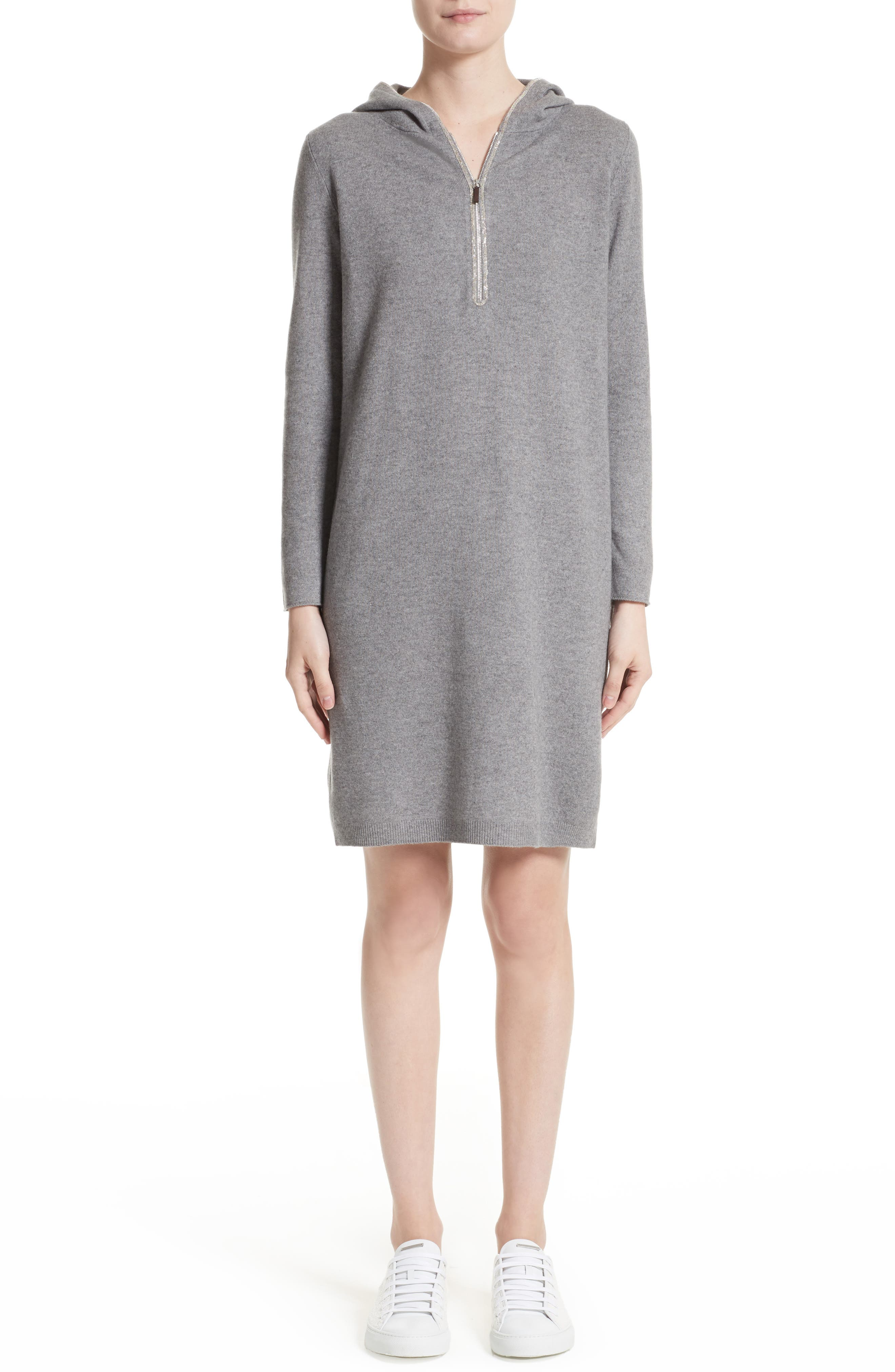Wool, Silk & Cashmere Hooded Dress,                         Main,                         color, Grey