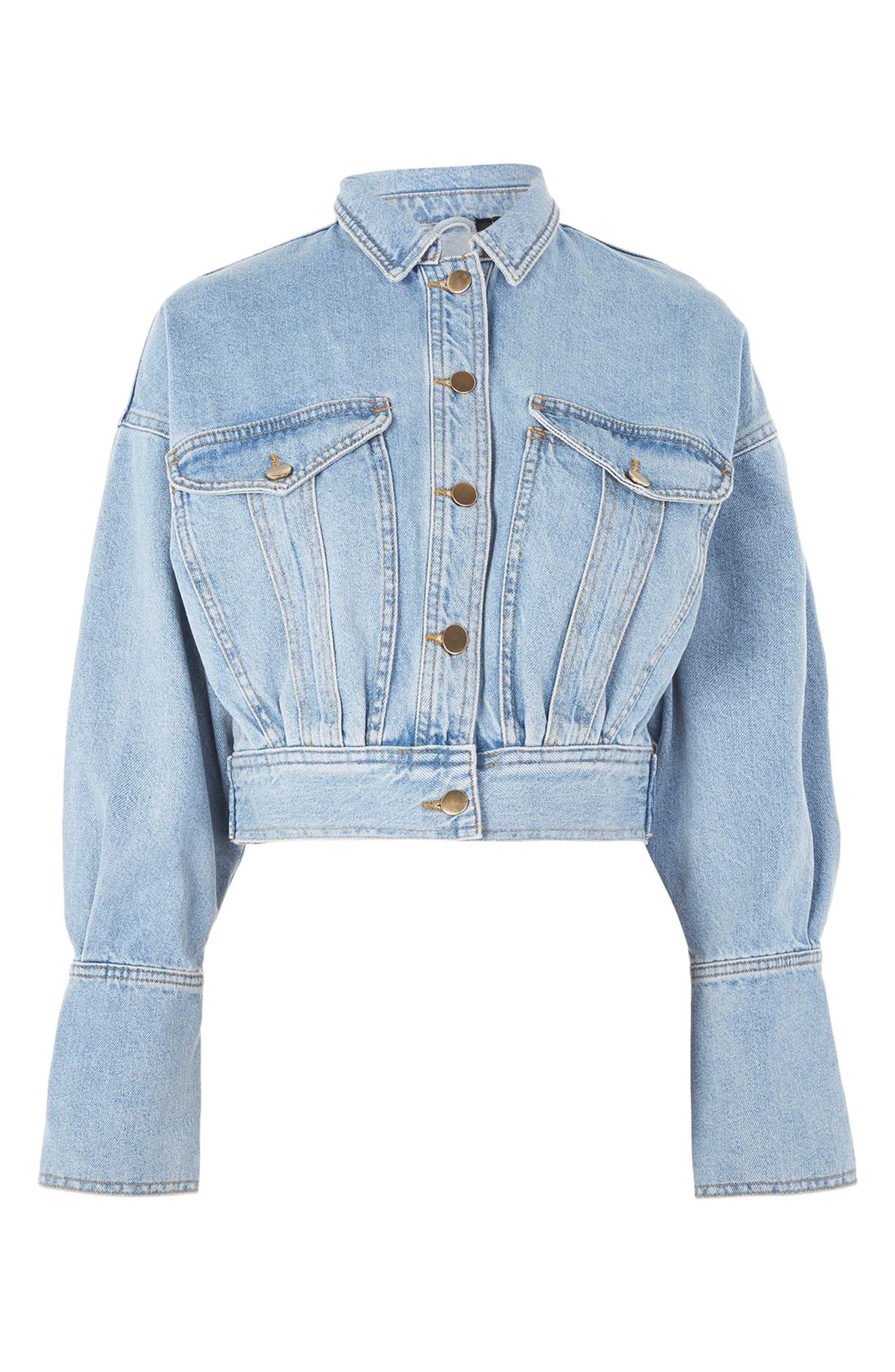 Alternate Image 4  - Topshop Boutique Crop Denim Jacket