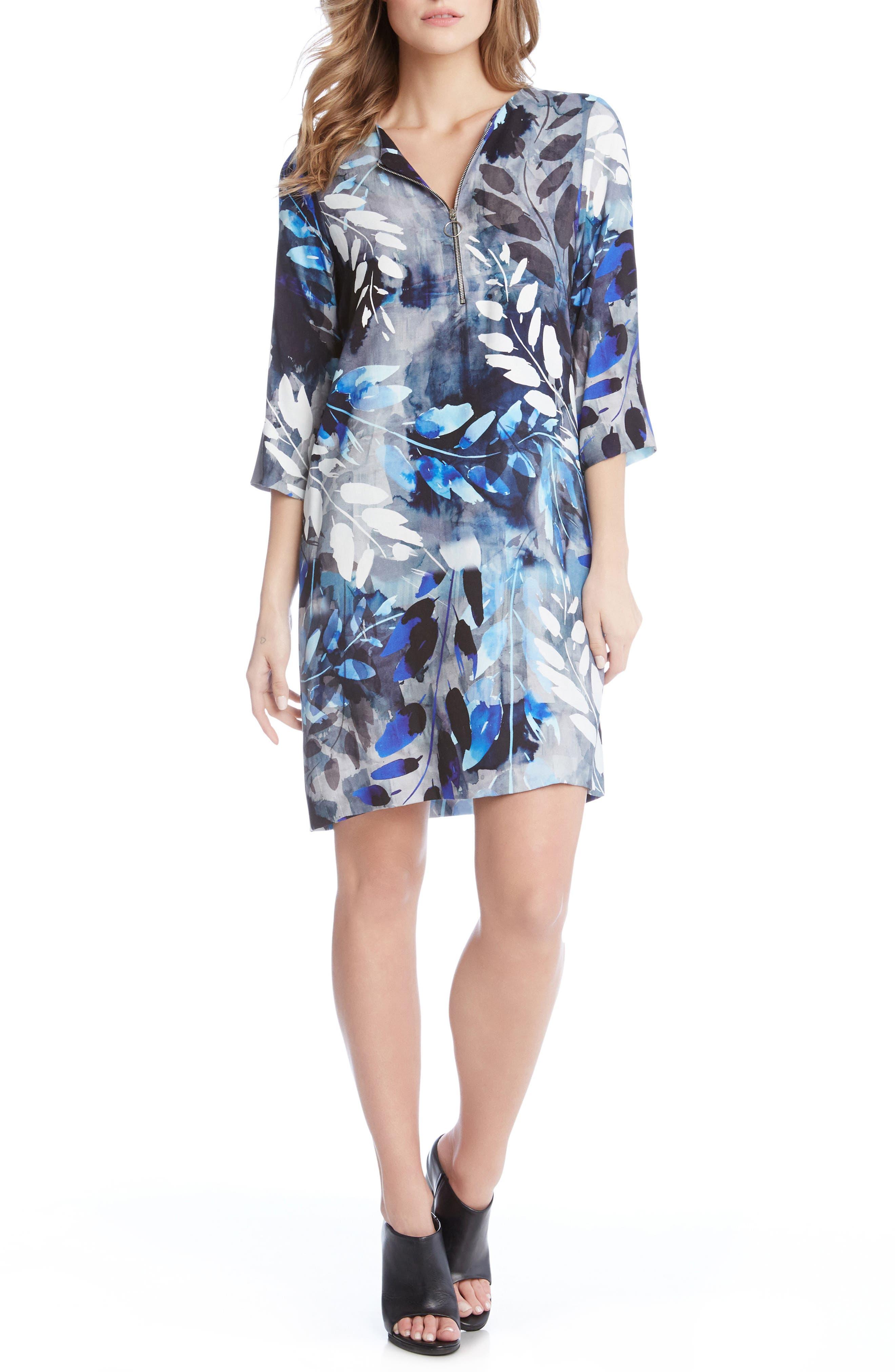Zip Front Shift Dress,                         Main,                         color, Print