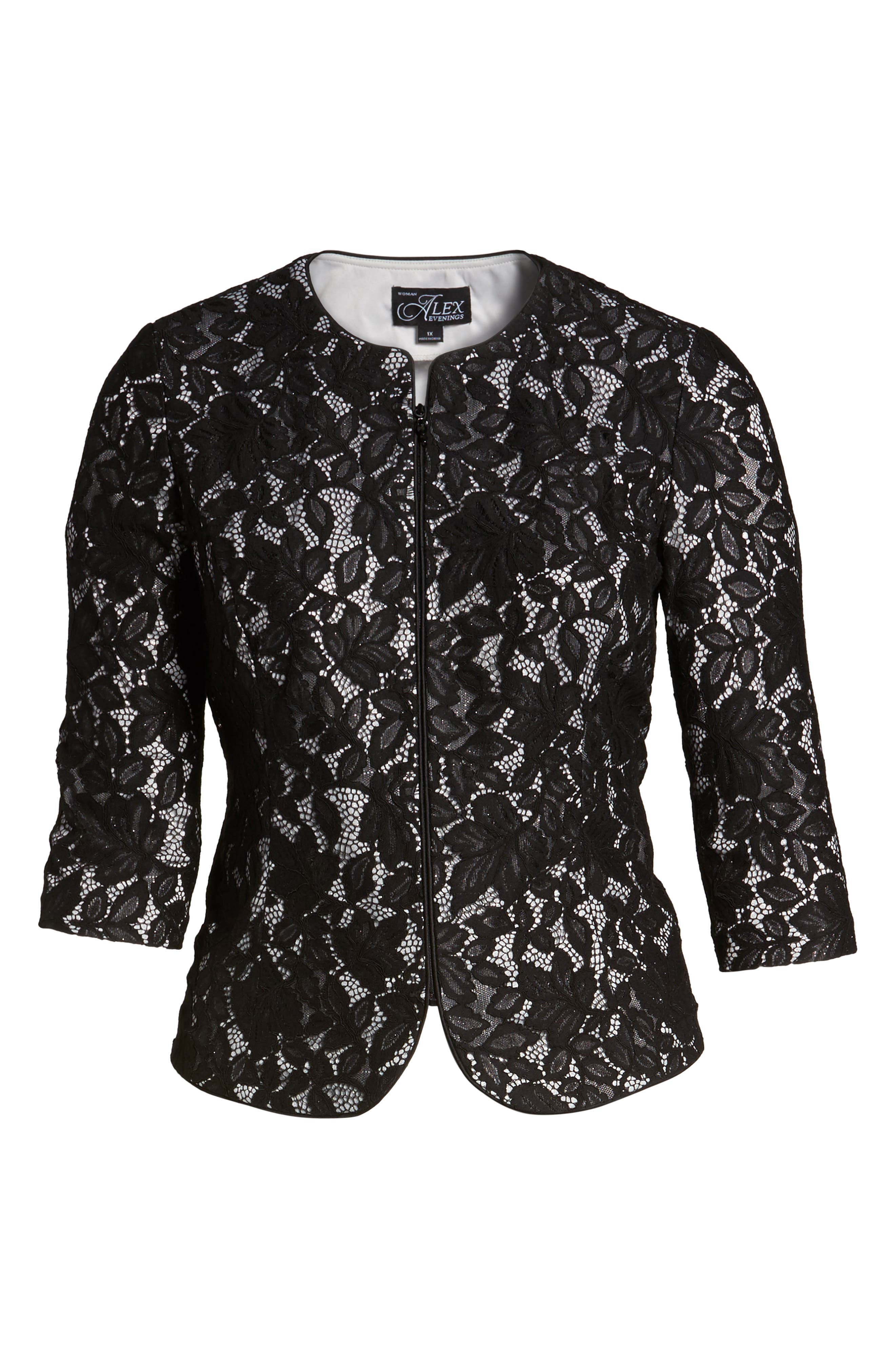 Lace Jacket,                             Alternate thumbnail 6, color,                             Black/ Silver