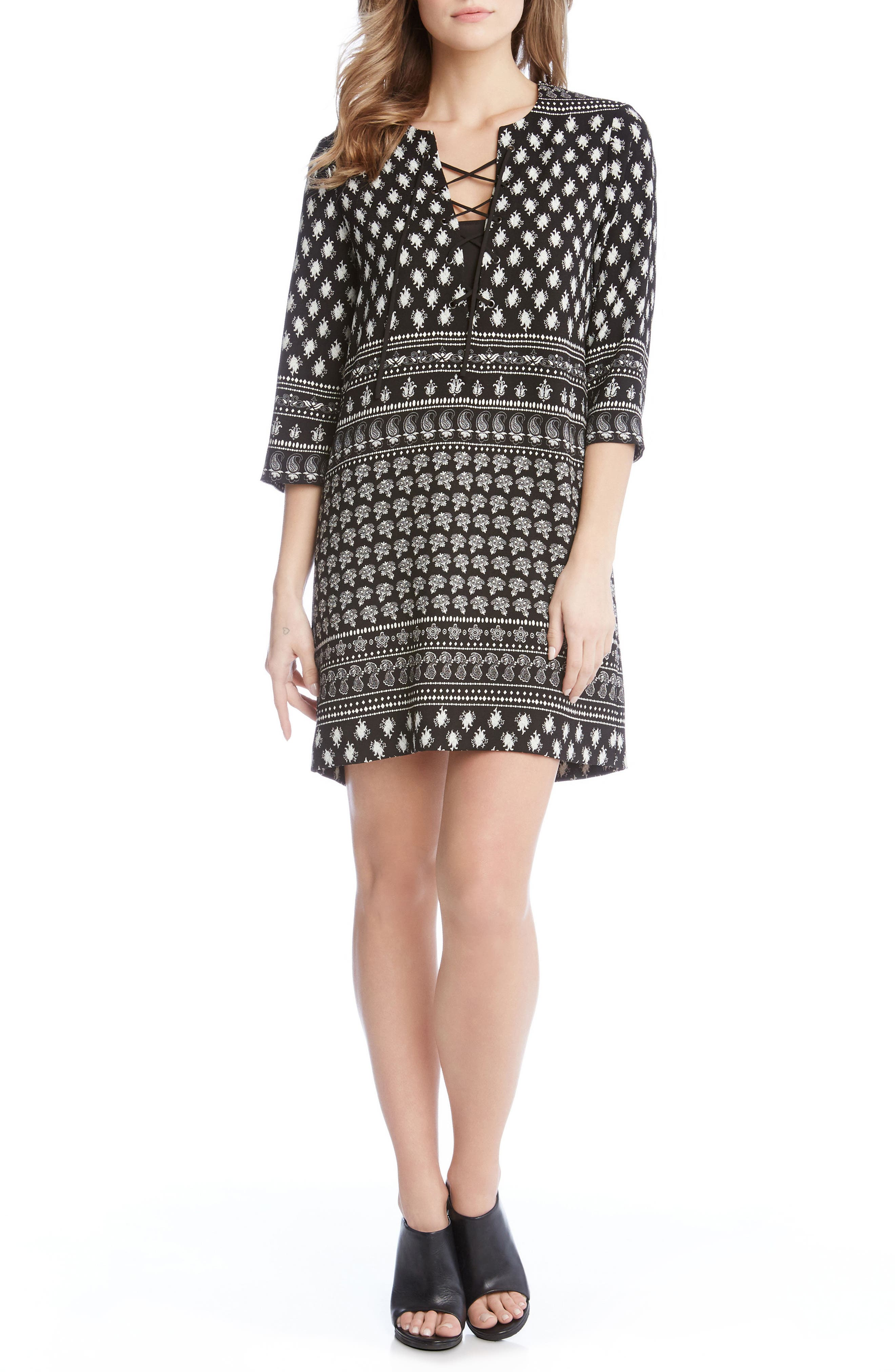 Print Lace-Up Shift Dress,                         Main,                         color, Print