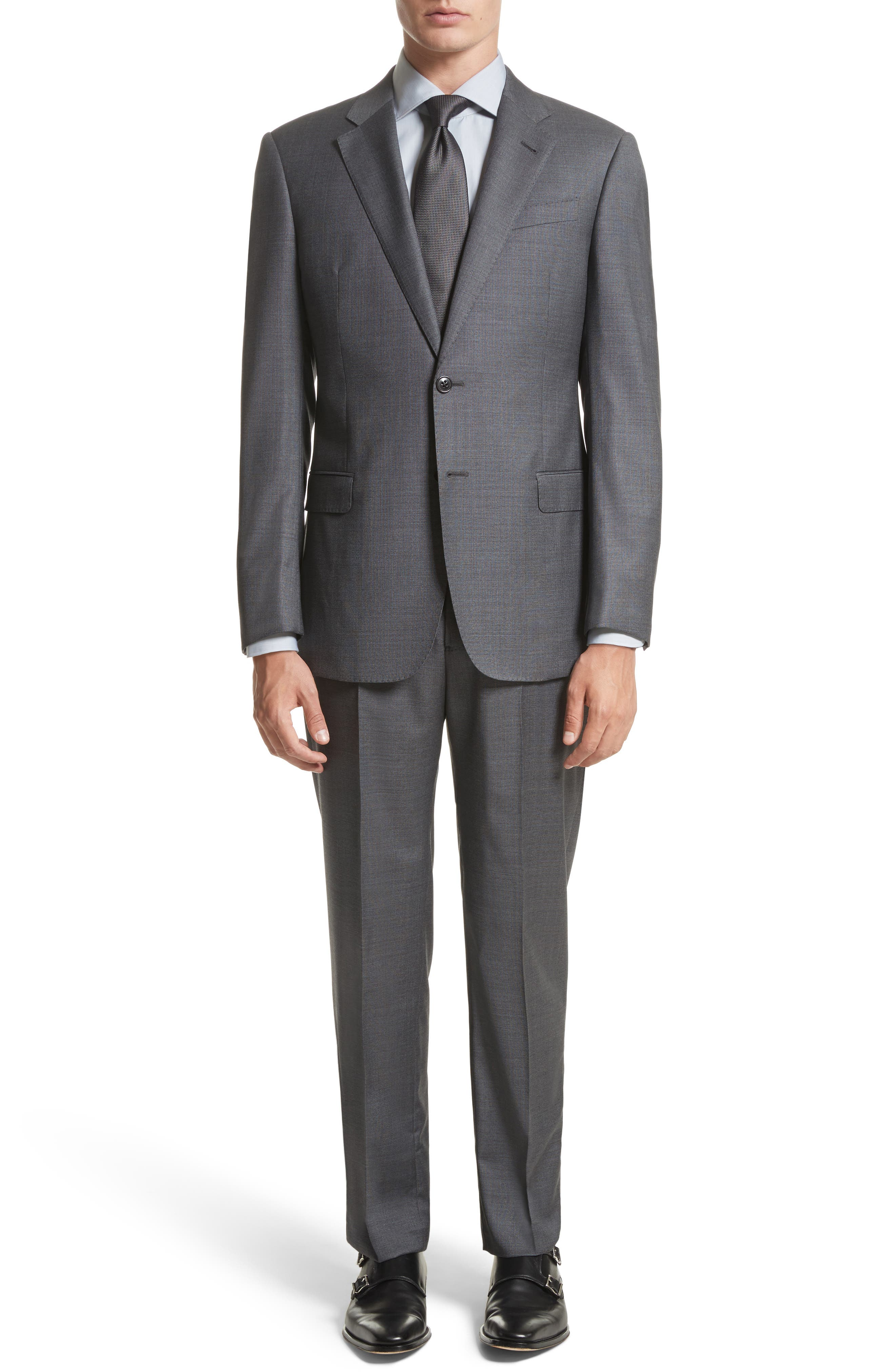 Main Image - Armani Collezioni G-Line Trim Fit Solid Wool Suit