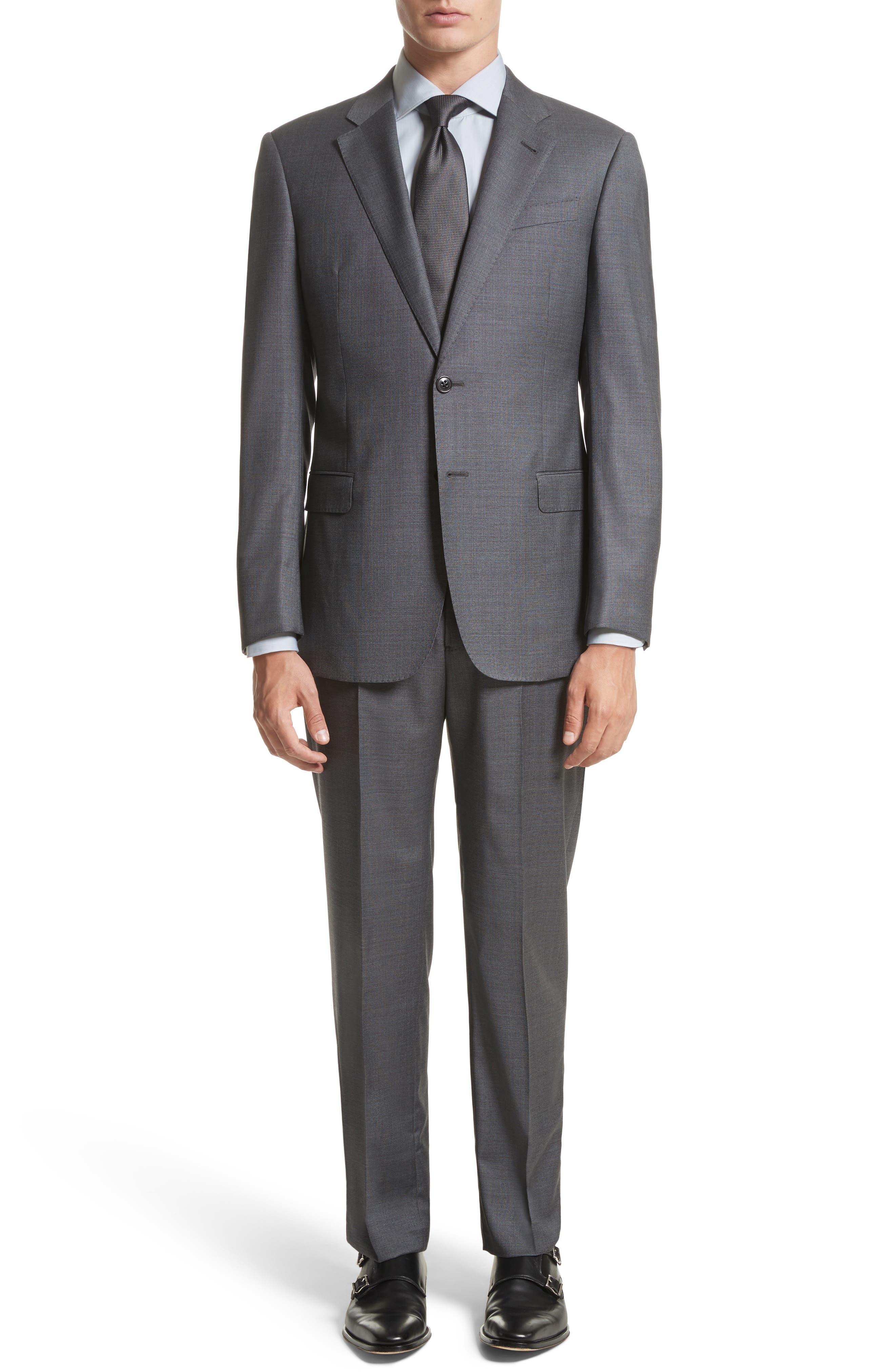 G-Line Trim Fit Solid Wool Suit,                         Main,                         color, Titanium