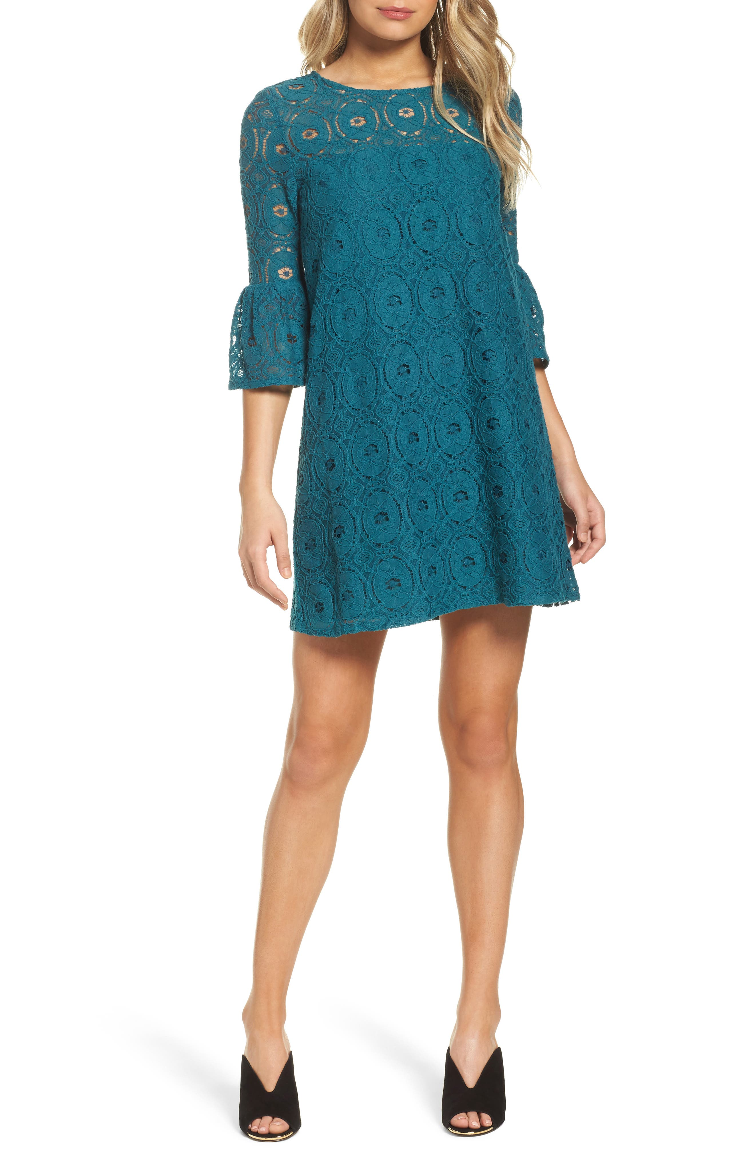 Jesper Bell Sleeve Lace Shift Dress,                         Main,                         color, Evergreen