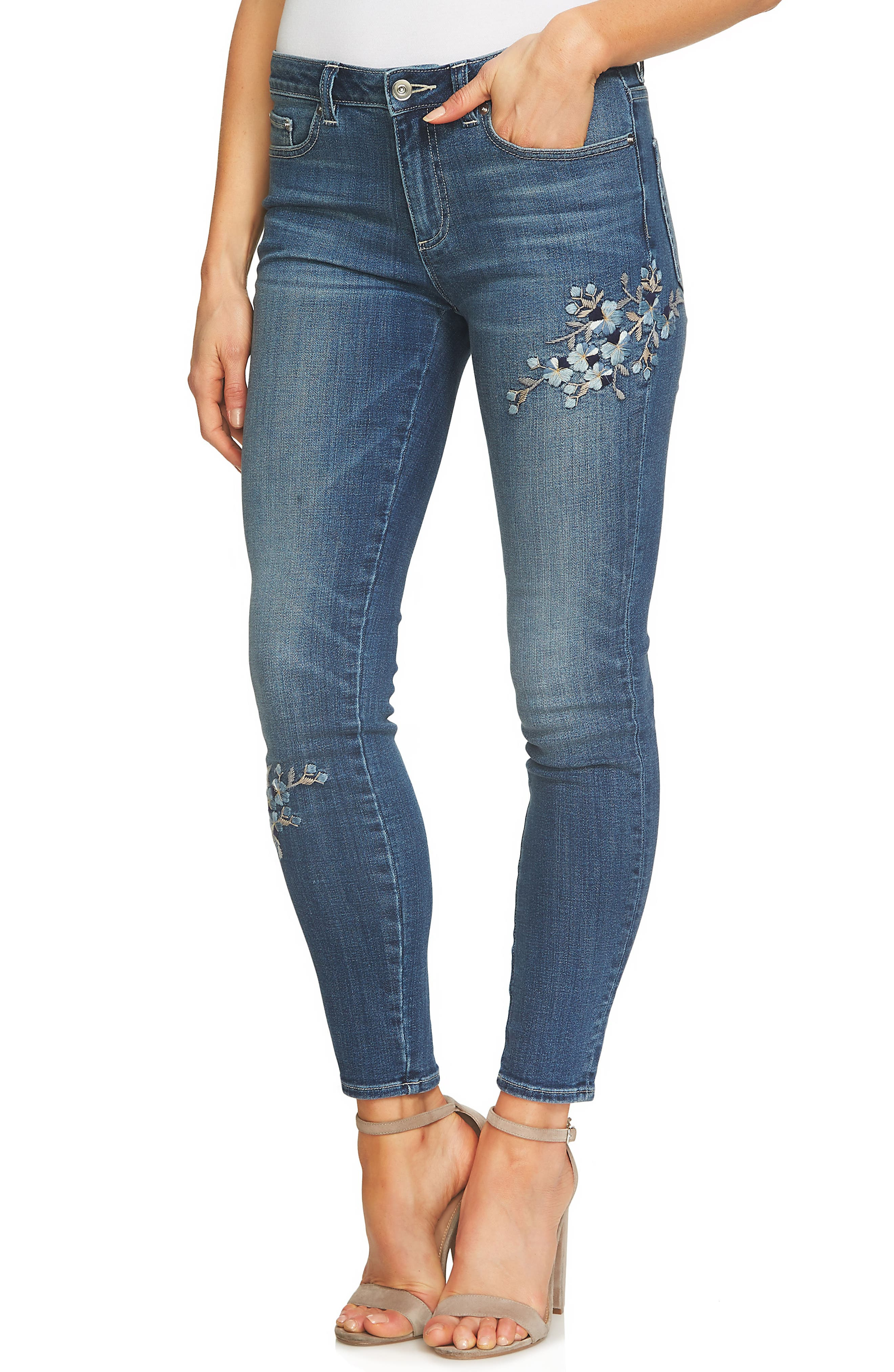 Alternate Image 3  - CeCe Floral Embroidered Skinny Jeans