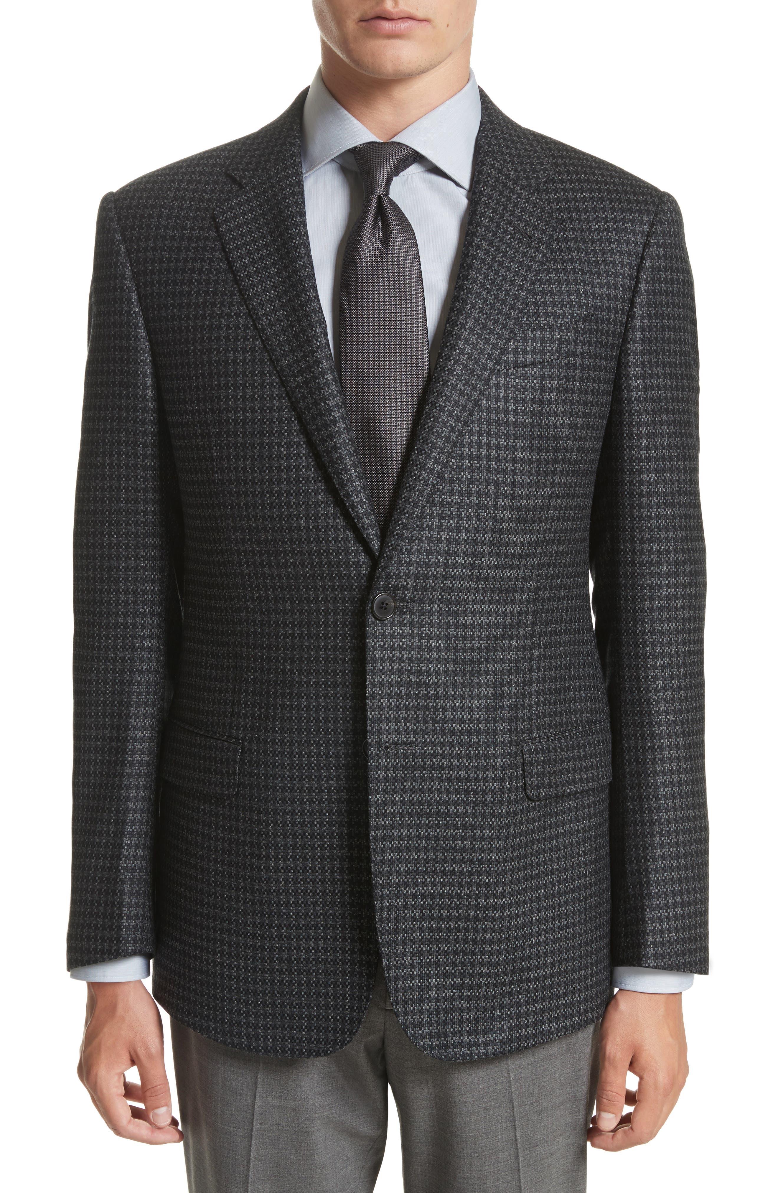 Armani Collezioni G-Line Trim Fit Houndstooth Wool & Cashmere Sport Coat