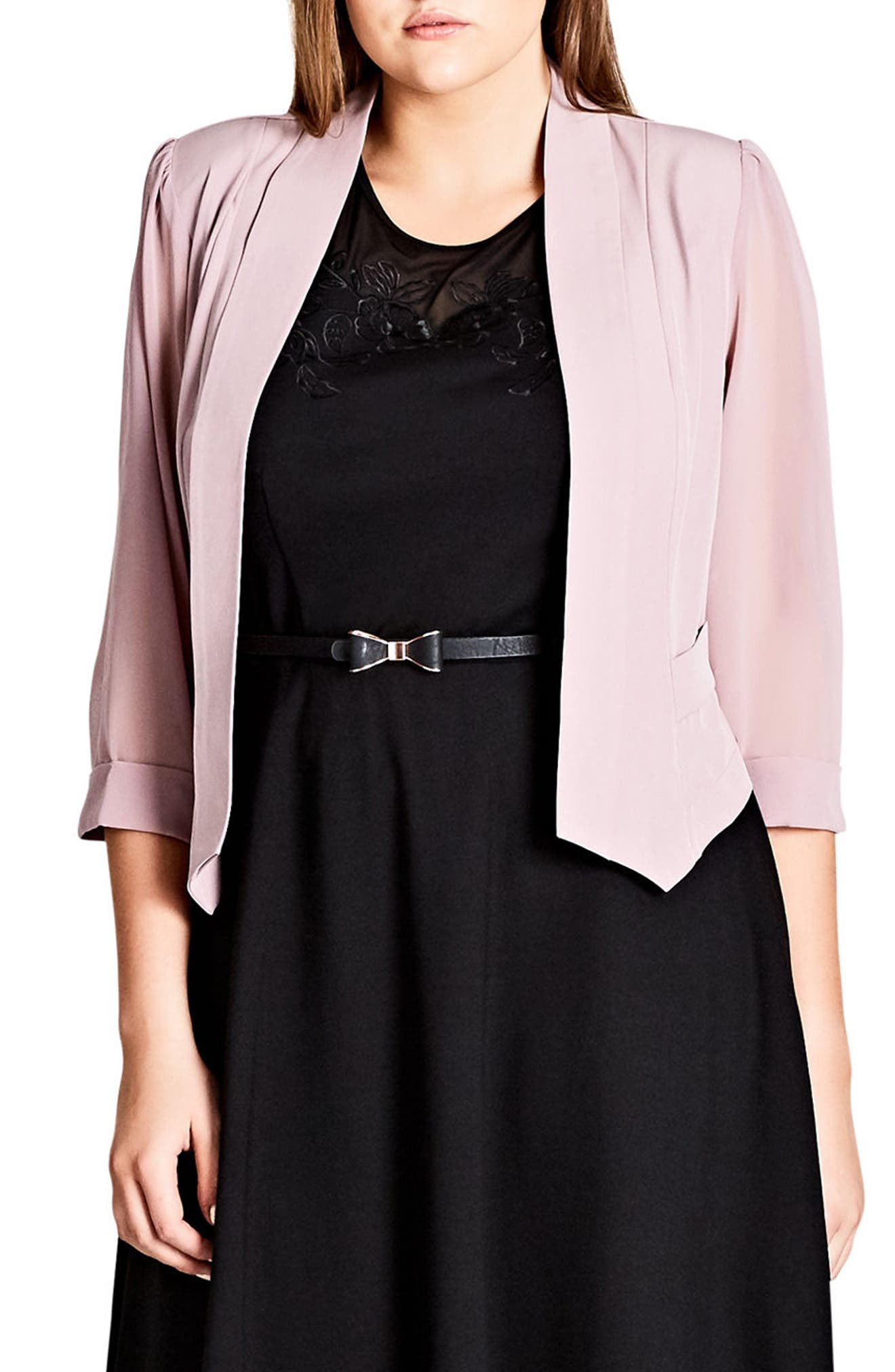 Crop Blazer,                             Main thumbnail 1, color,                             Antique Rose