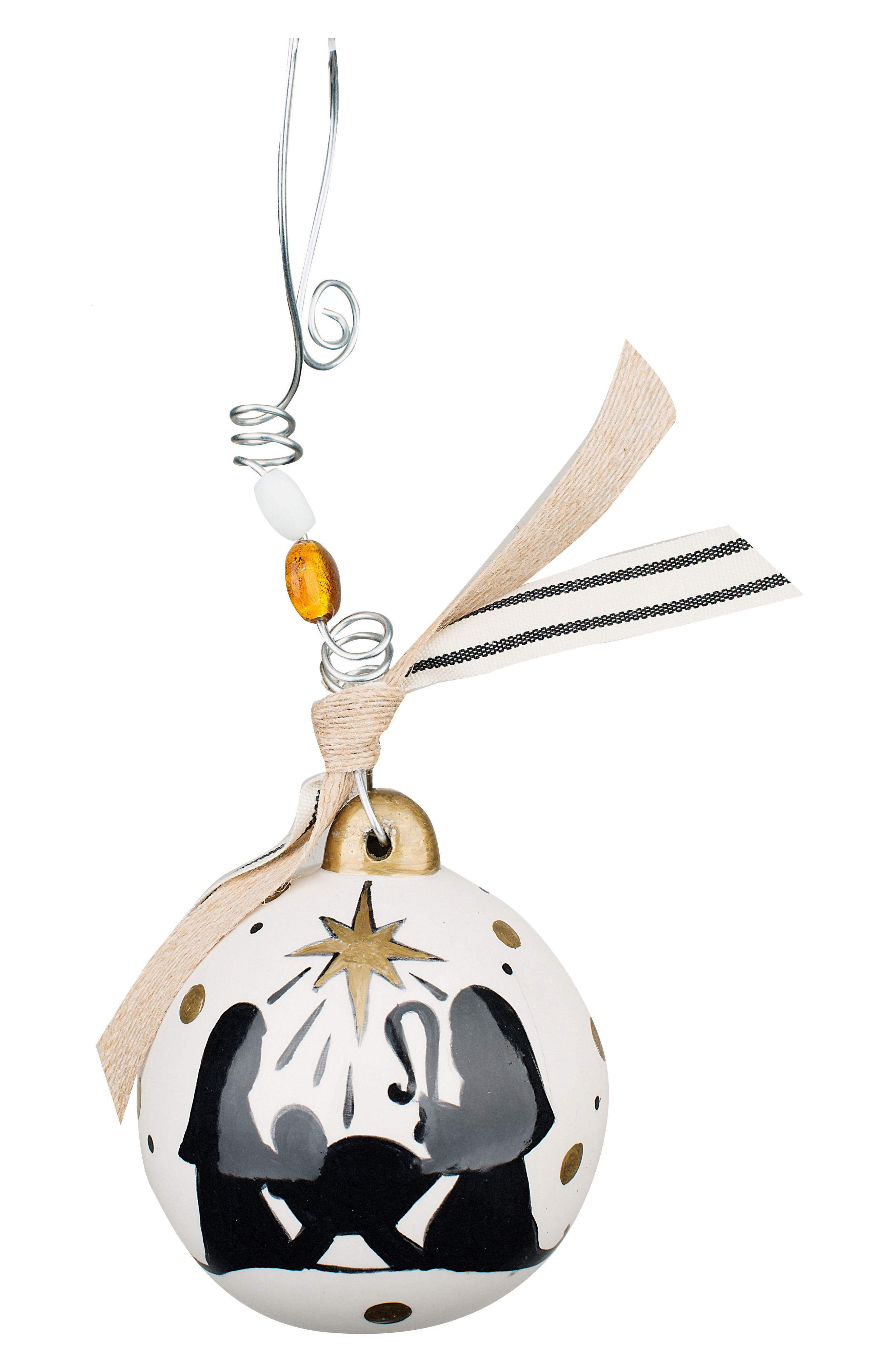 Oh Holy Night Ball Ornament,                             Main thumbnail 1, color,                             Cream/ Black/ Gold