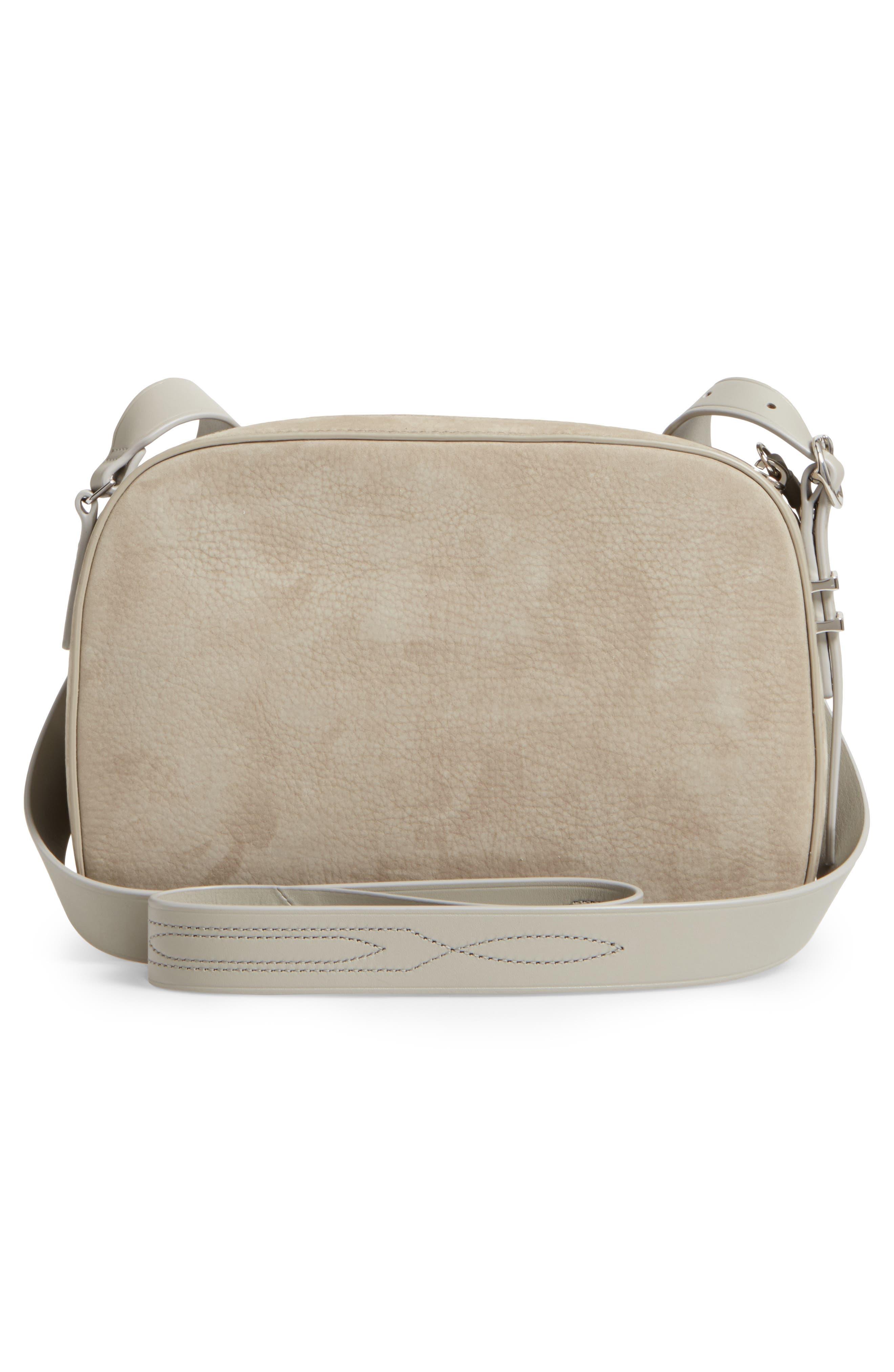 Cooper Nubuck Leather Shoulder Bag,                             Alternate thumbnail 3, color,                             Light Cement Grey