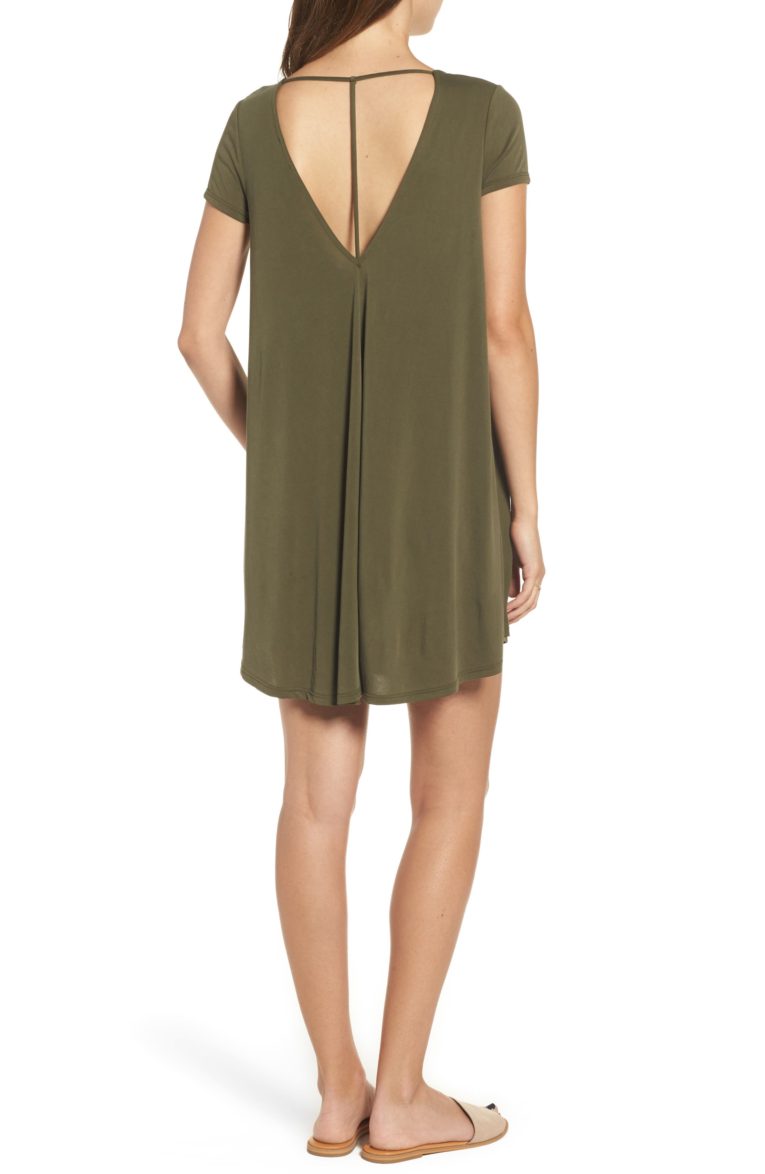 T-Back Swing Dress,                             Alternate thumbnail 2, color,                             Olive
