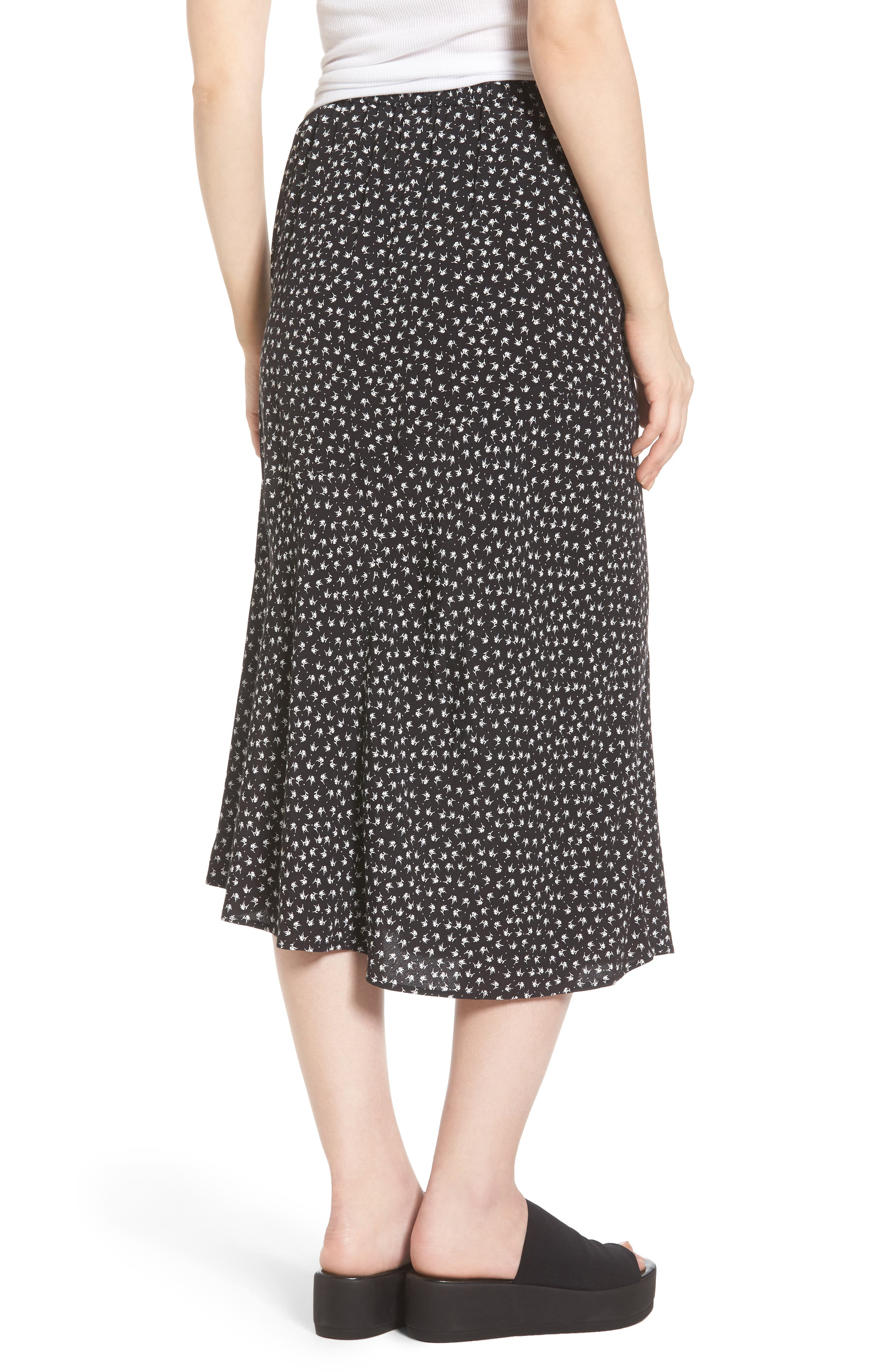 Print Bias Cut Skirt,                             Alternate thumbnail 2, color,                             Black Tsd Stem