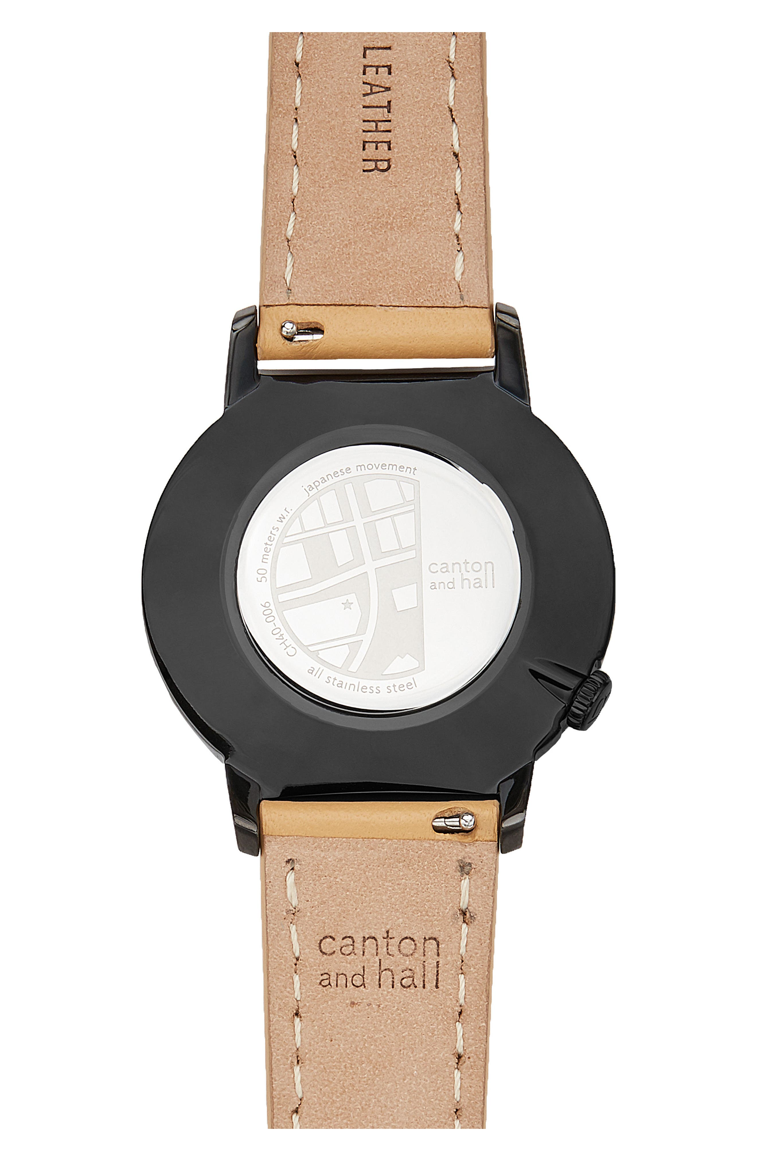 Davis Slim Leather Strap Watch, 40mm,                             Alternate thumbnail 3, color,                             Gold/ Camel