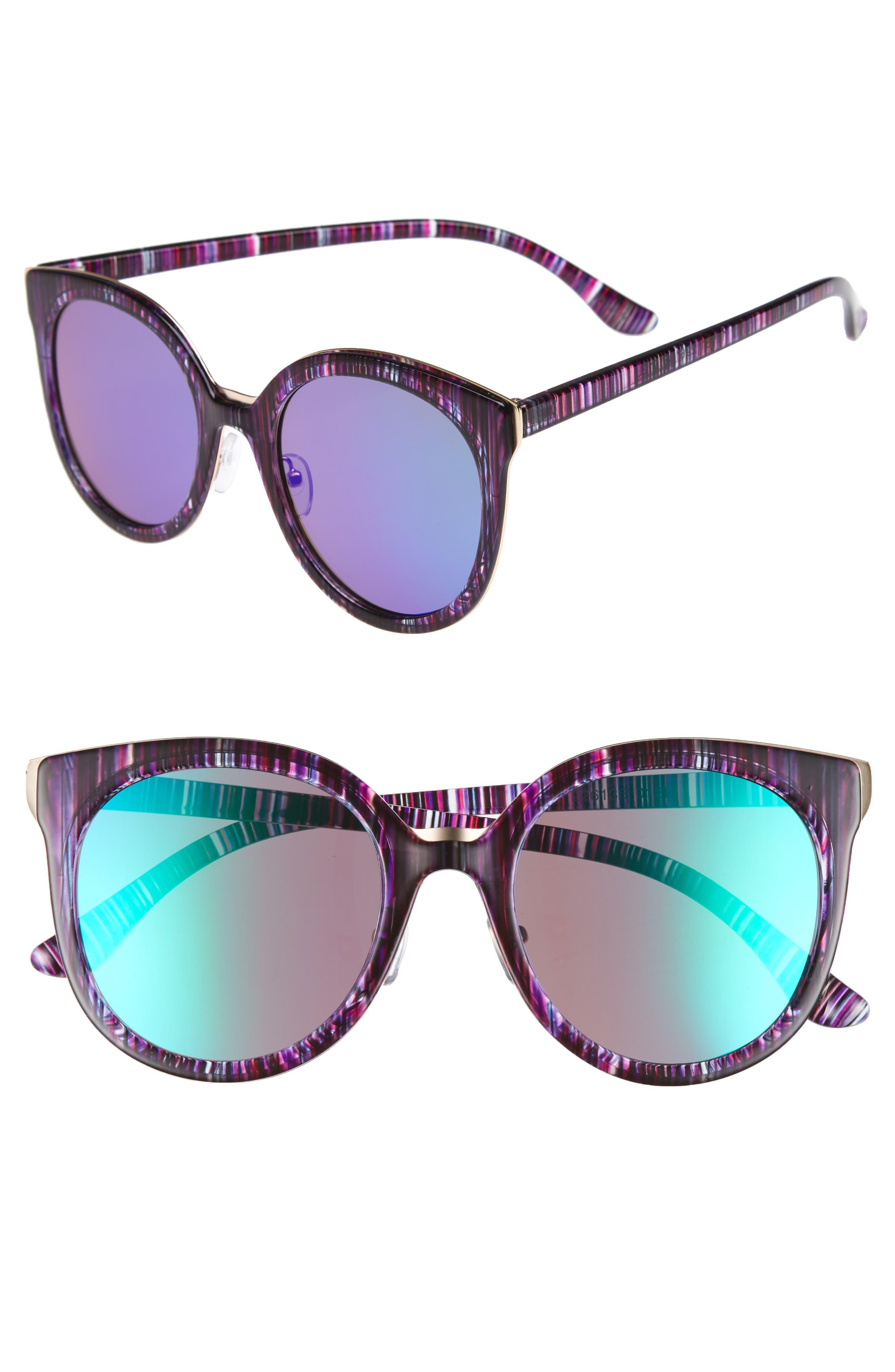 60mm Mirror Lens Round Sunglasses,                         Main,                         color, Multi