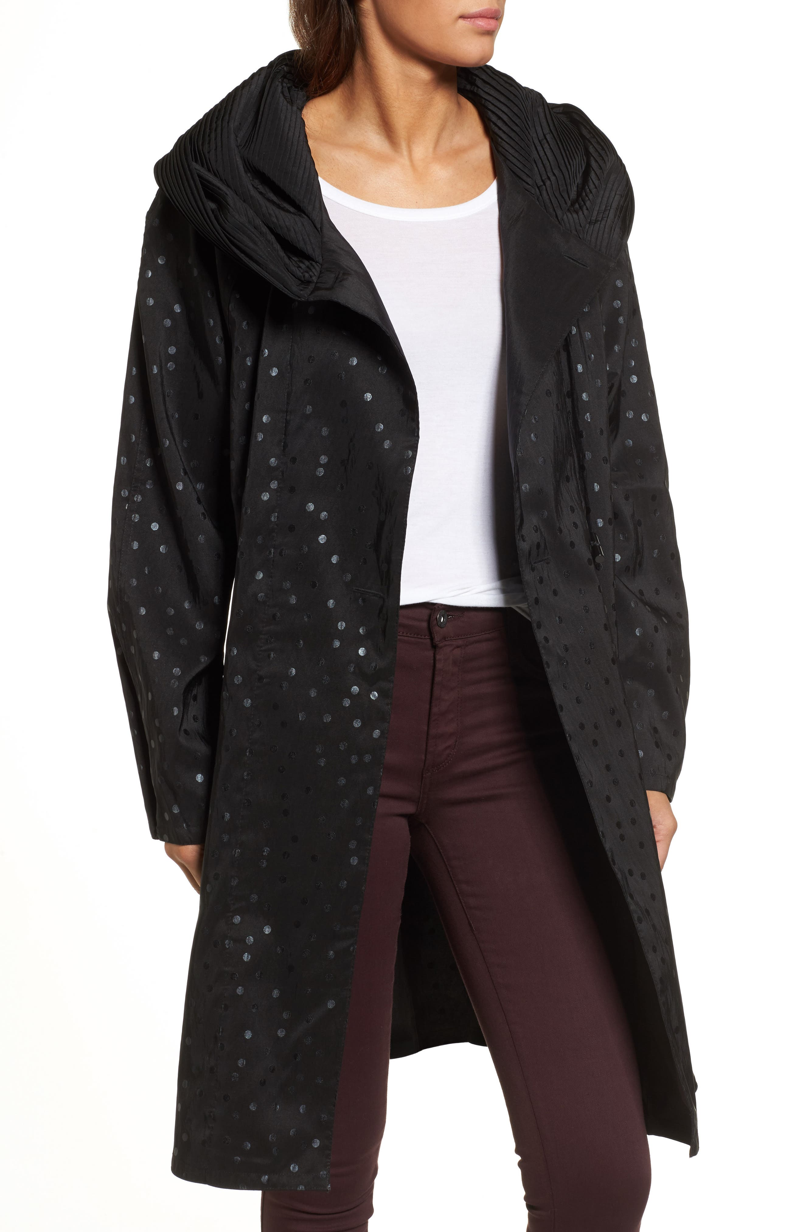 'Donatella' Reversible Dot Pleat Hood Packable Travel Coat,                         Main,                         color, Black Dot