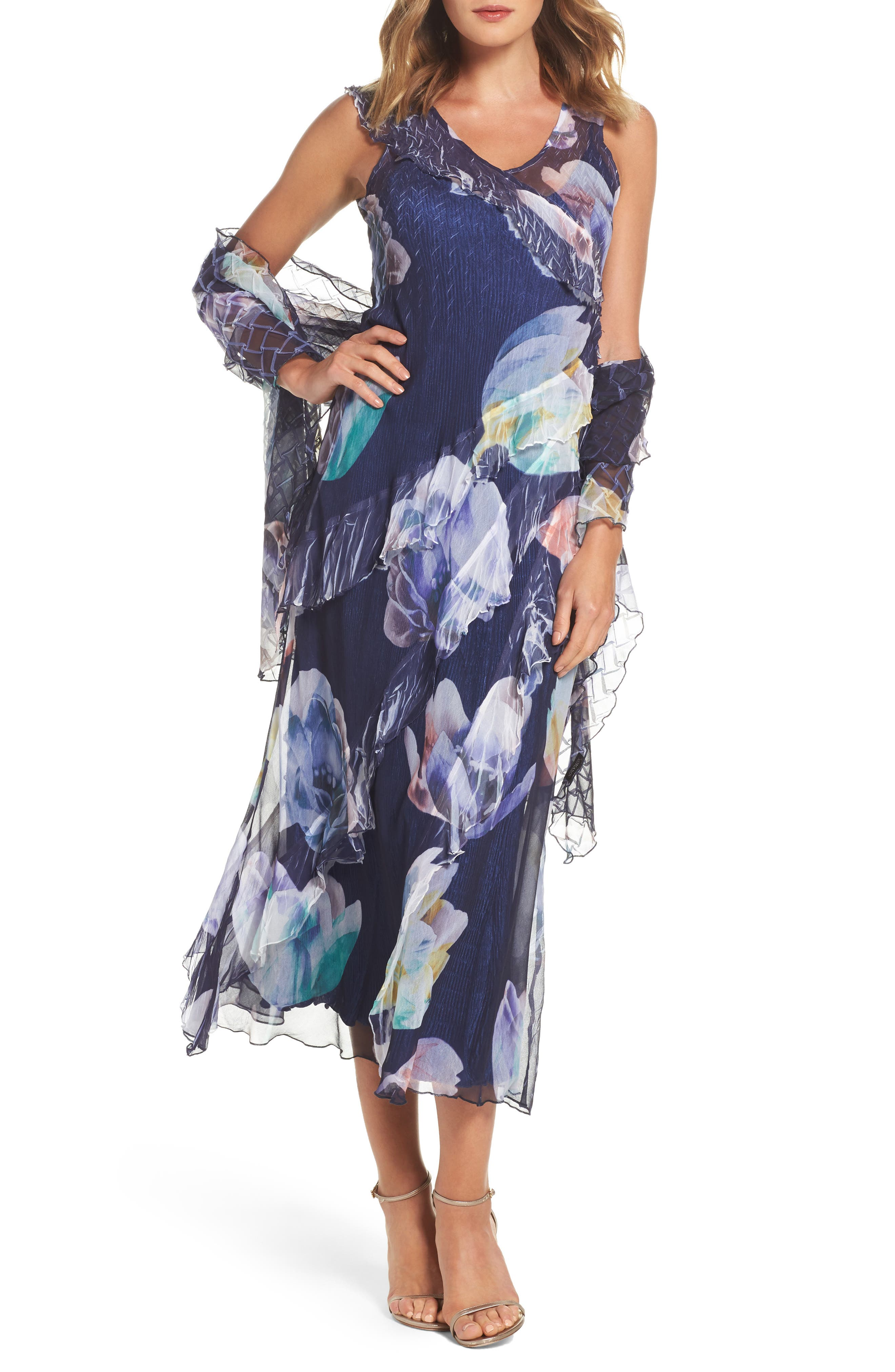 Ruffle Maxi Dress with Wrap,                         Main,                         color, Indigo Bloom