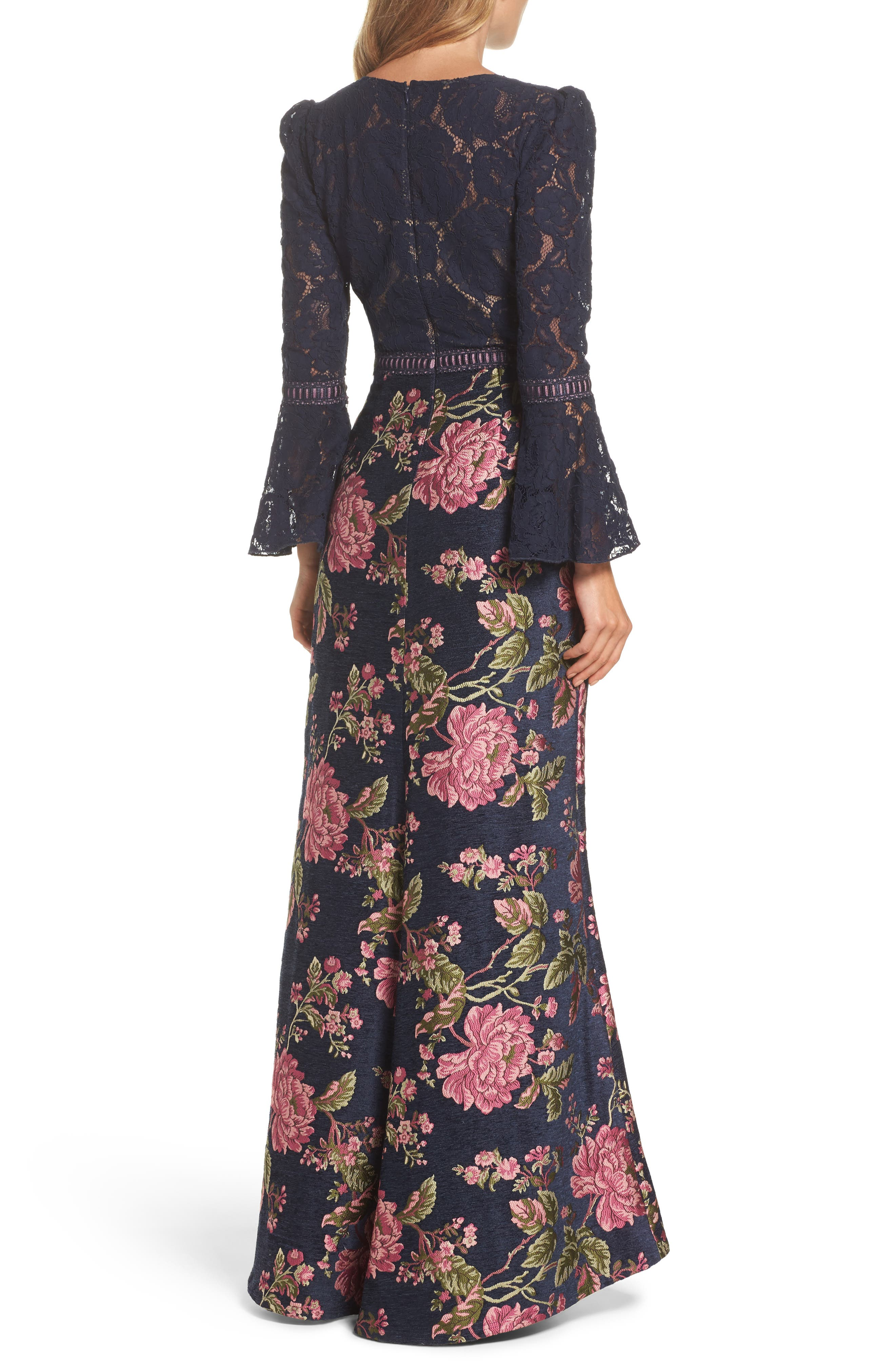 Lace Bodice Brocade Gown,                             Alternate thumbnail 2, color,                             Navy