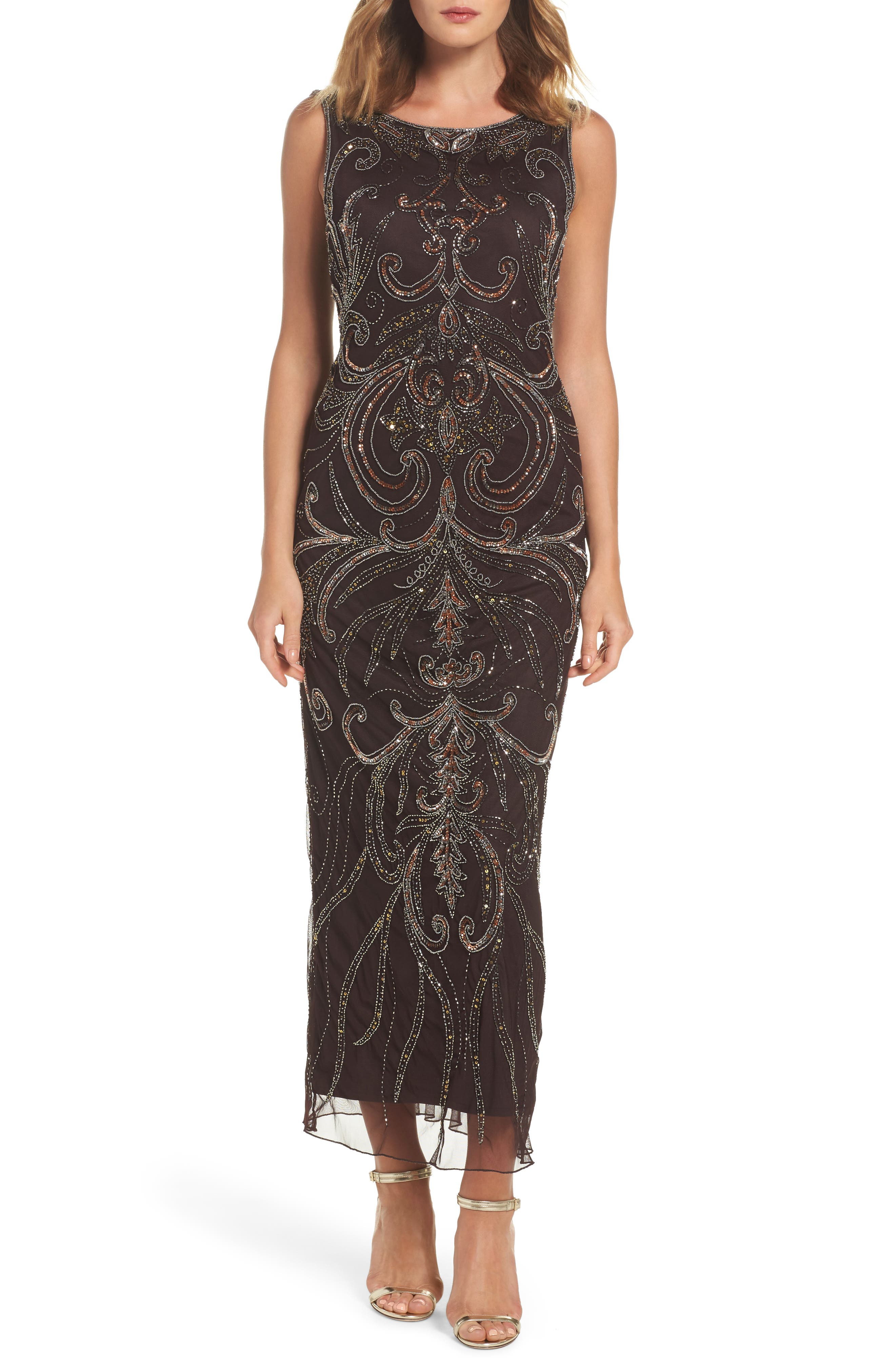 Pisarro Nights Scoop Back Embellished Gown (Regular & Petite)