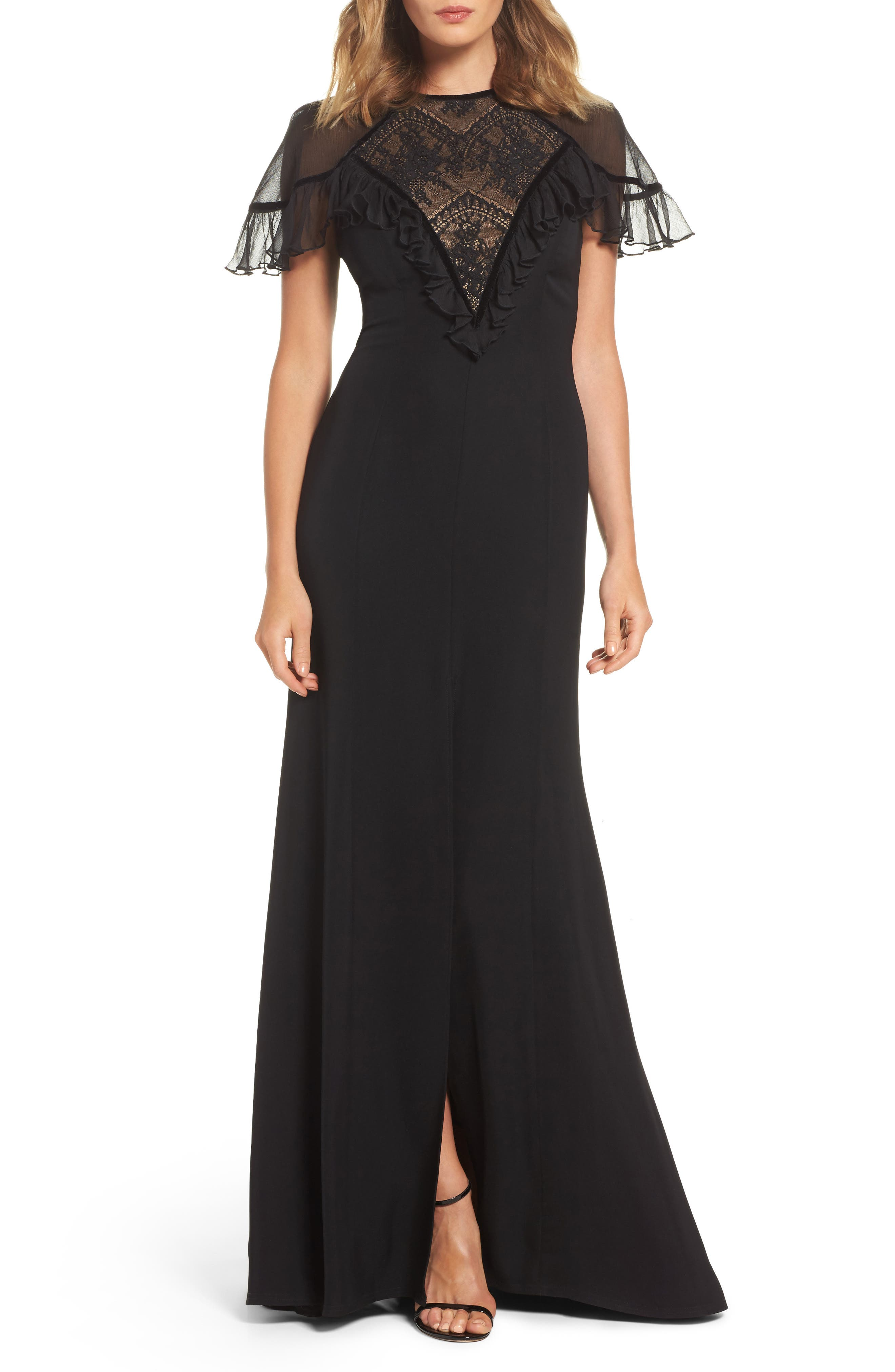 Lace Inset Crepe Gown,                             Main thumbnail 1, color,                             Black/ Nude