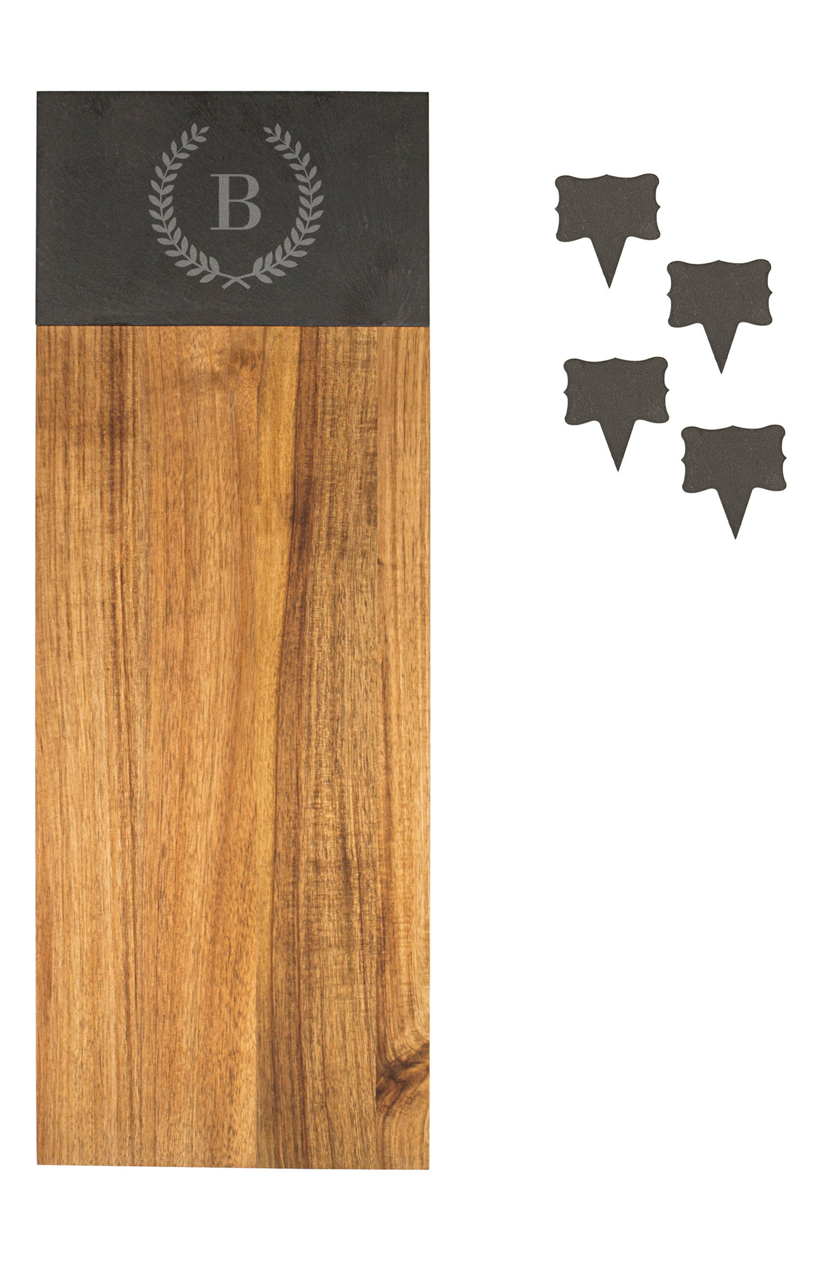 Monogram Acacia Wood Cheese Board,                             Alternate thumbnail 2, color,