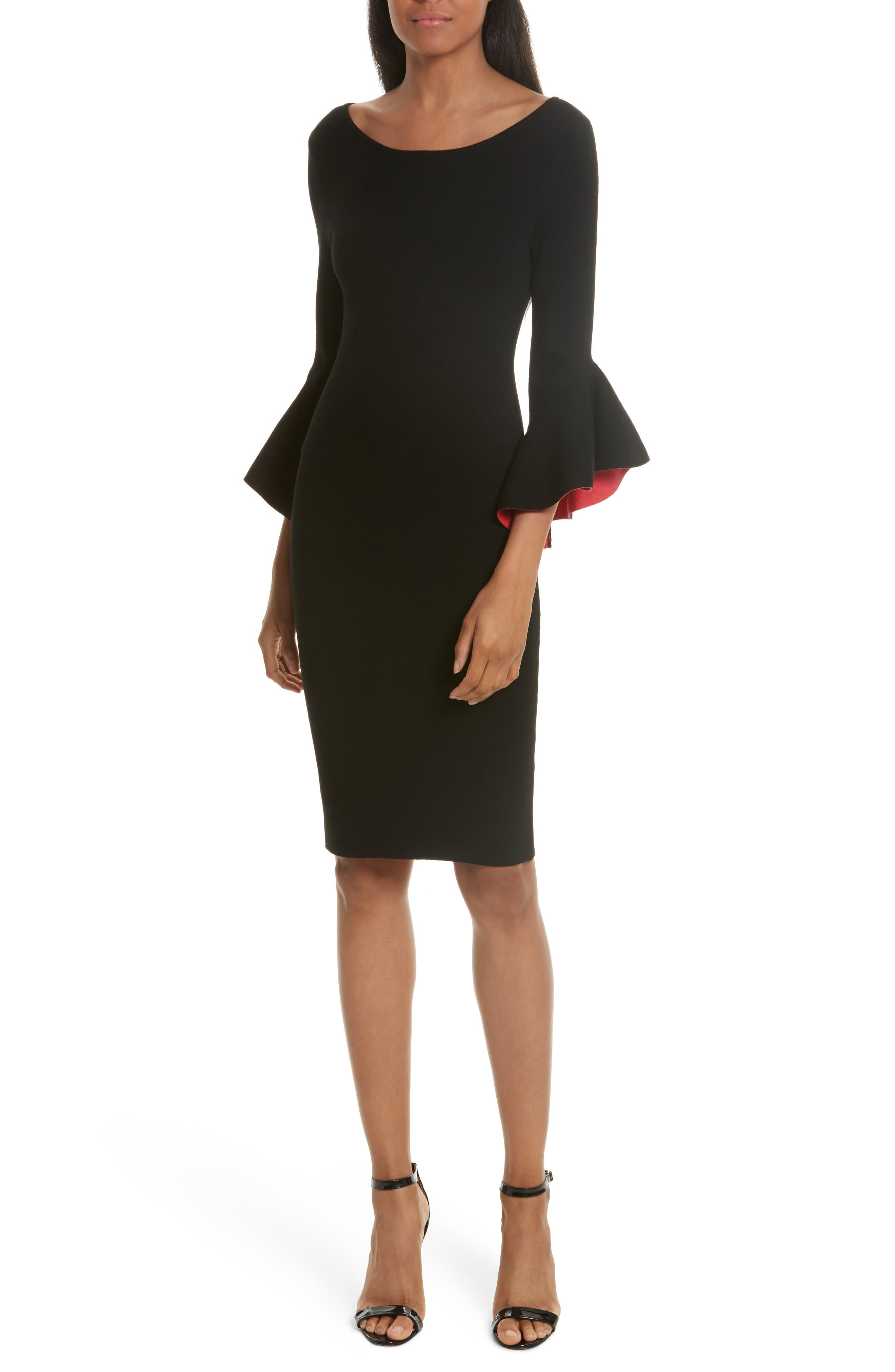 Contrast Lined Bell Sleeve Sheath Dress,                             Main thumbnail 1, color,                             Black/ Cherry