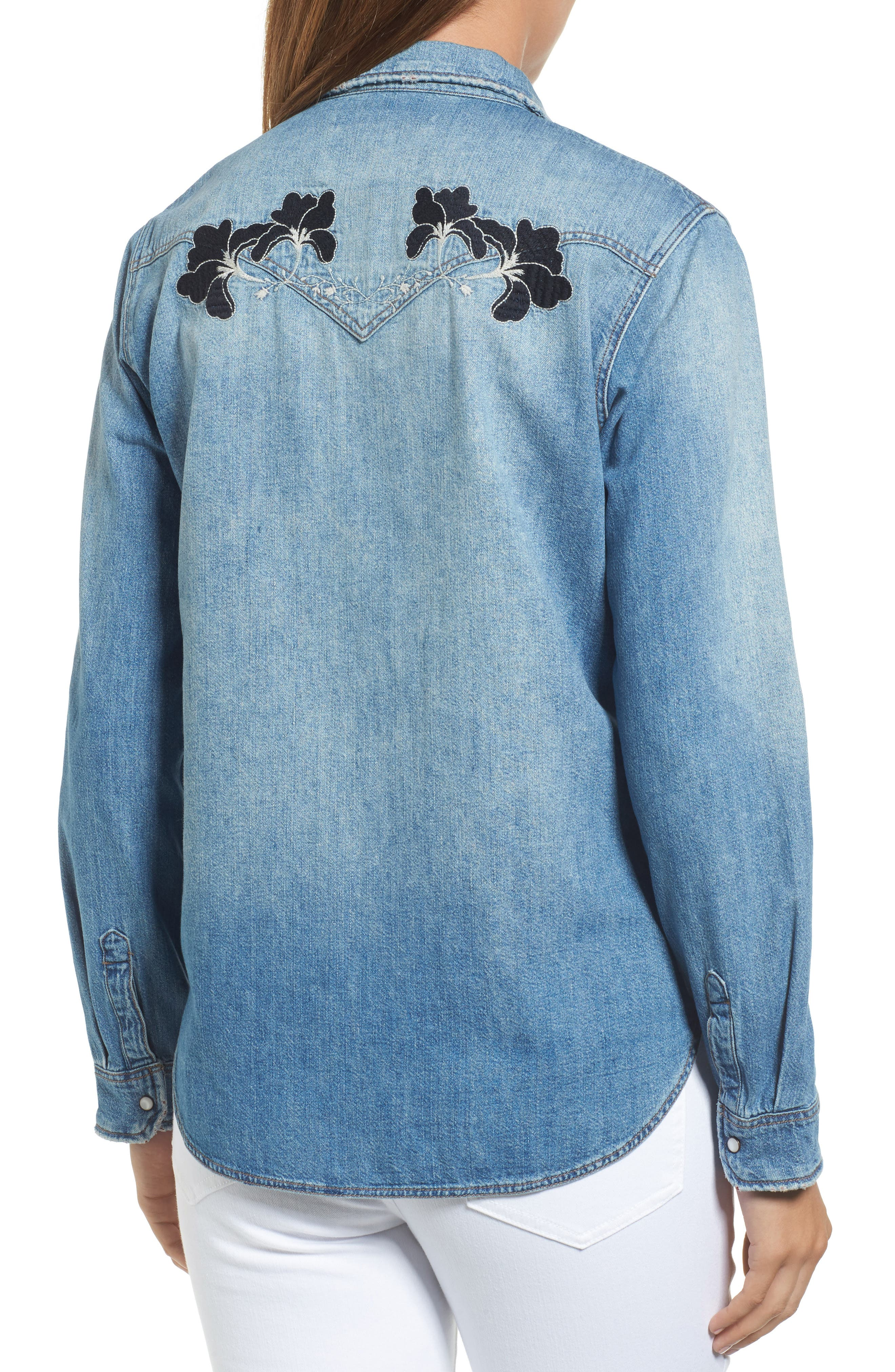 Vintage Rose Embroidered Denim Shirt,                             Alternate thumbnail 2, color,                             Vintage Rose Embroidery