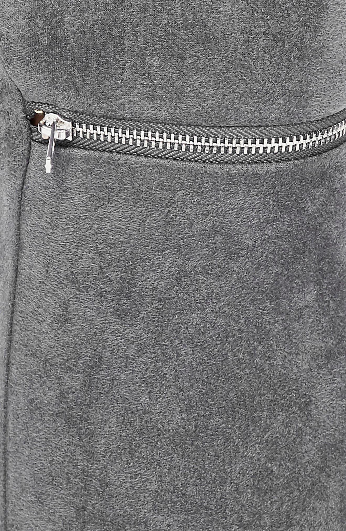 Faux Suede Zip Leggings,                             Alternate thumbnail 3, color,                             Grey