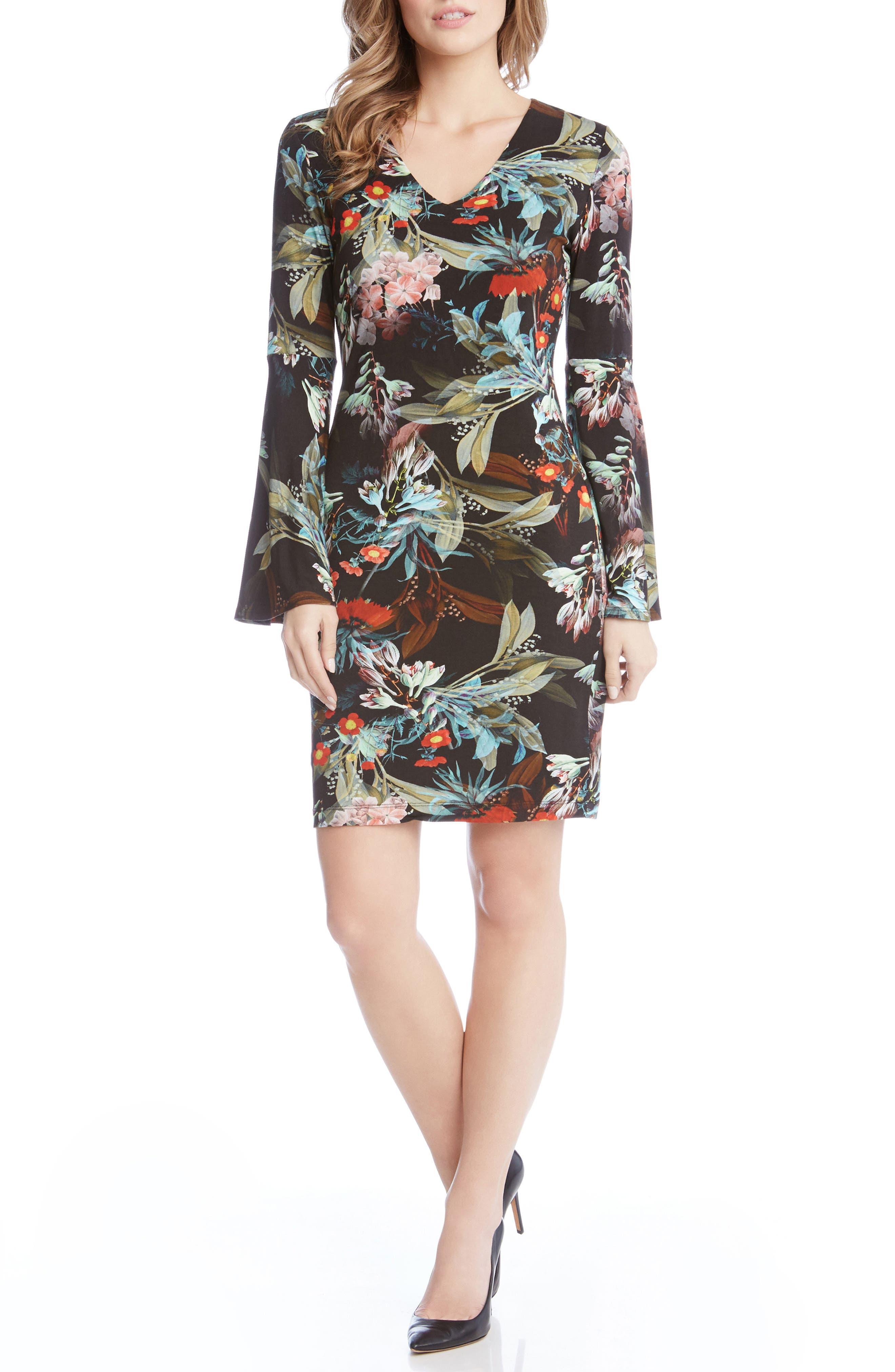 Bell Sleeve V-Neck Dress,                         Main,                         color, Print