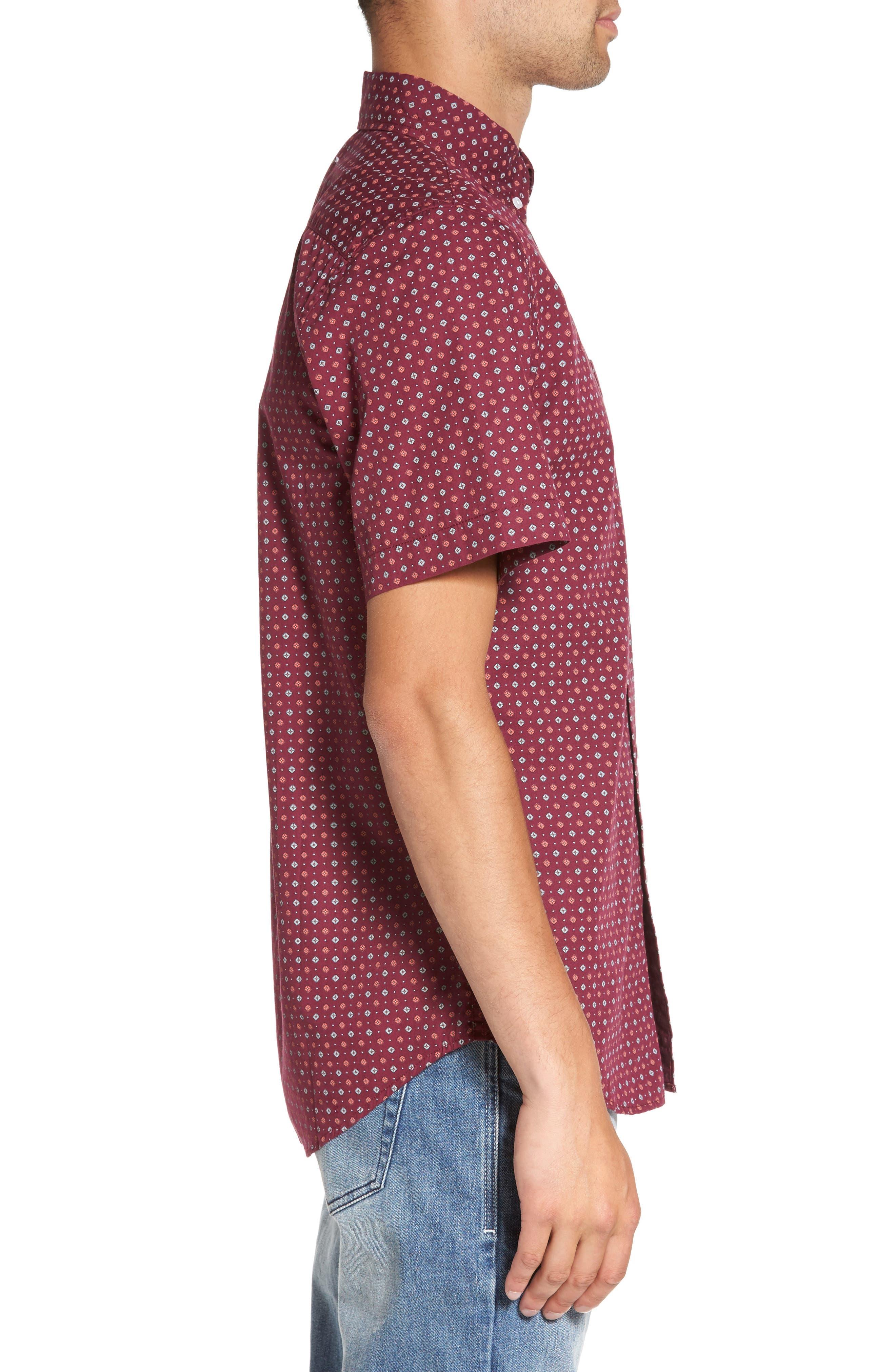 Sterling Woven Shirt,                             Alternate thumbnail 3, color,                             Raspberry Multi
