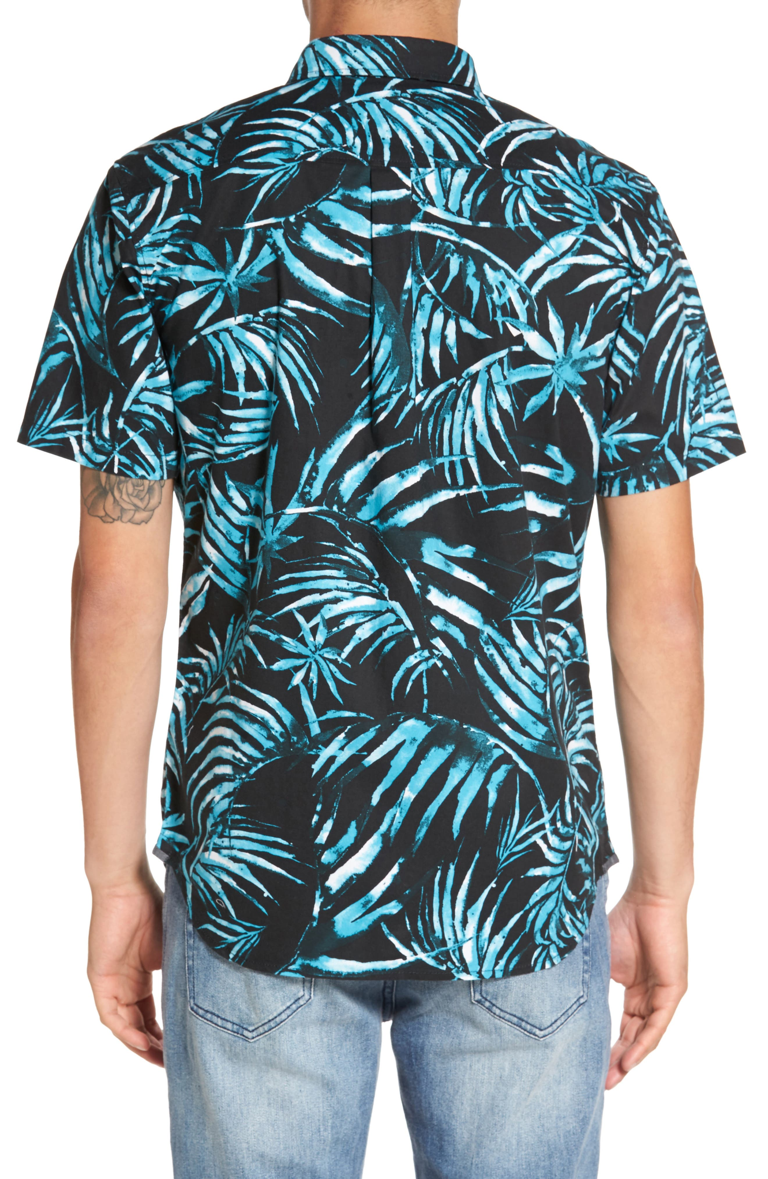 Del Playa Palm Print Woven Shirt,                             Alternate thumbnail 2, color,                             Black Water Palm