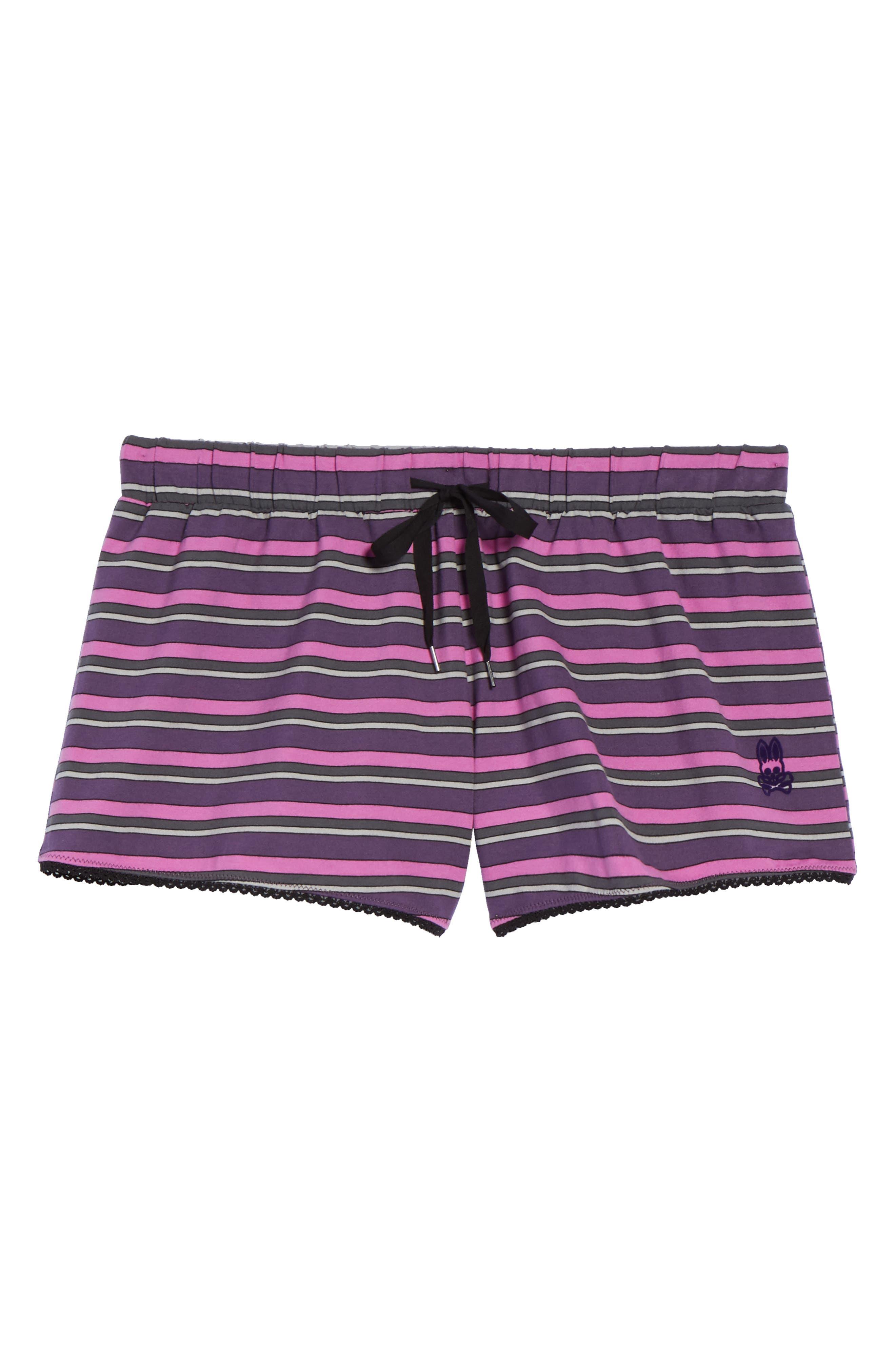 Pajama Shorts,                             Alternate thumbnail 5, color,                             Currant Stripe