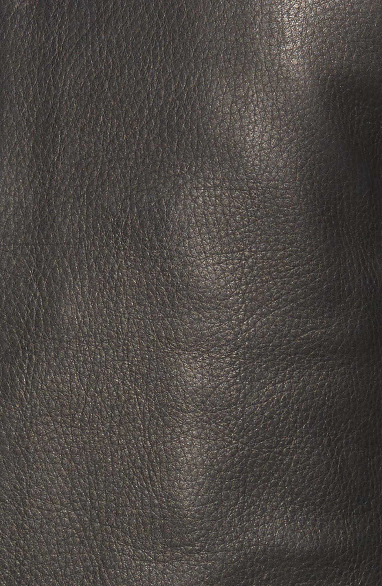 Leather Zip Front Moto Jacket,                             Alternate thumbnail 5, color,                             Black