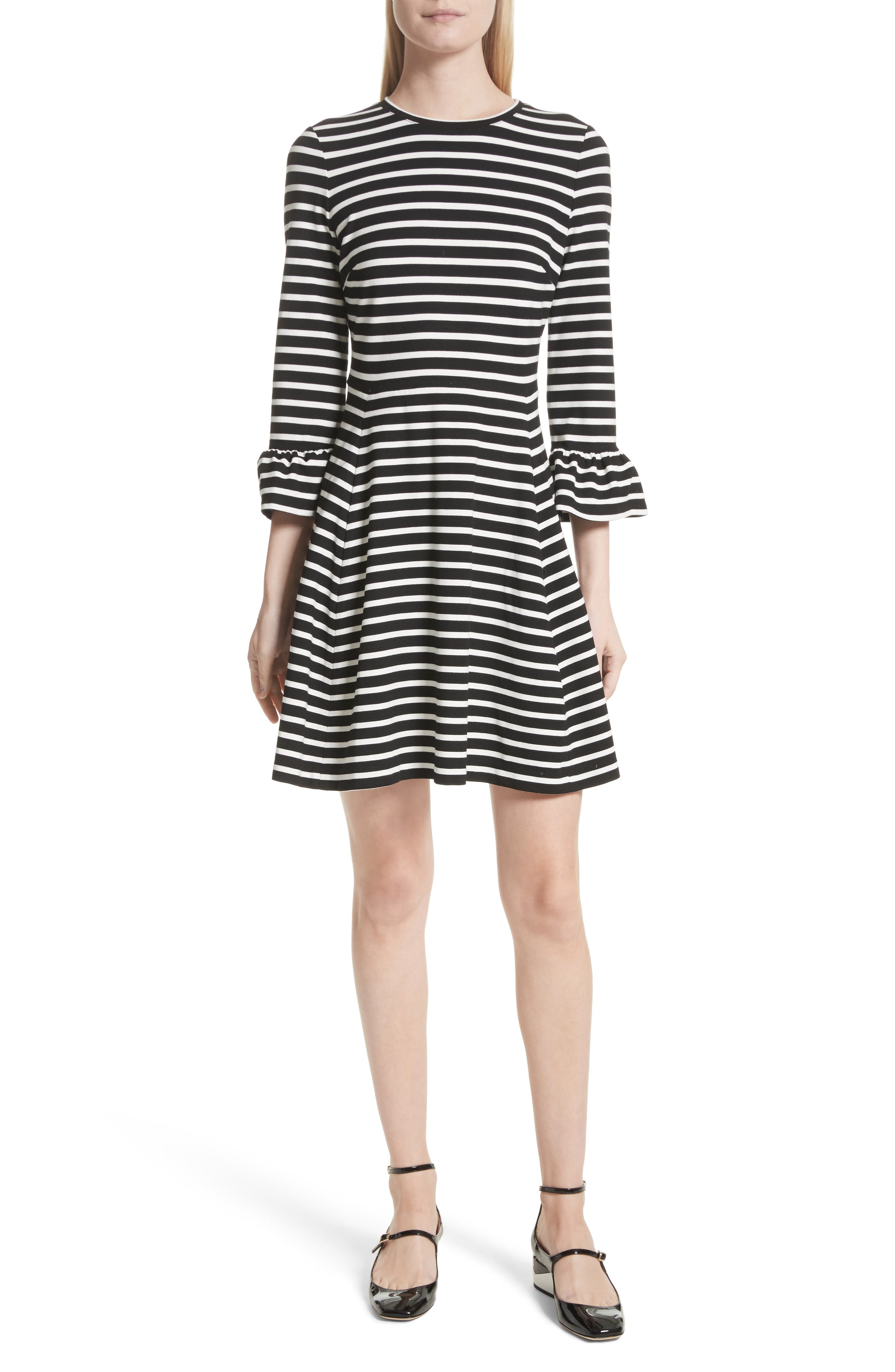 stripe fit-and-flare dress,                             Main thumbnail 1, color,                             Ivory
