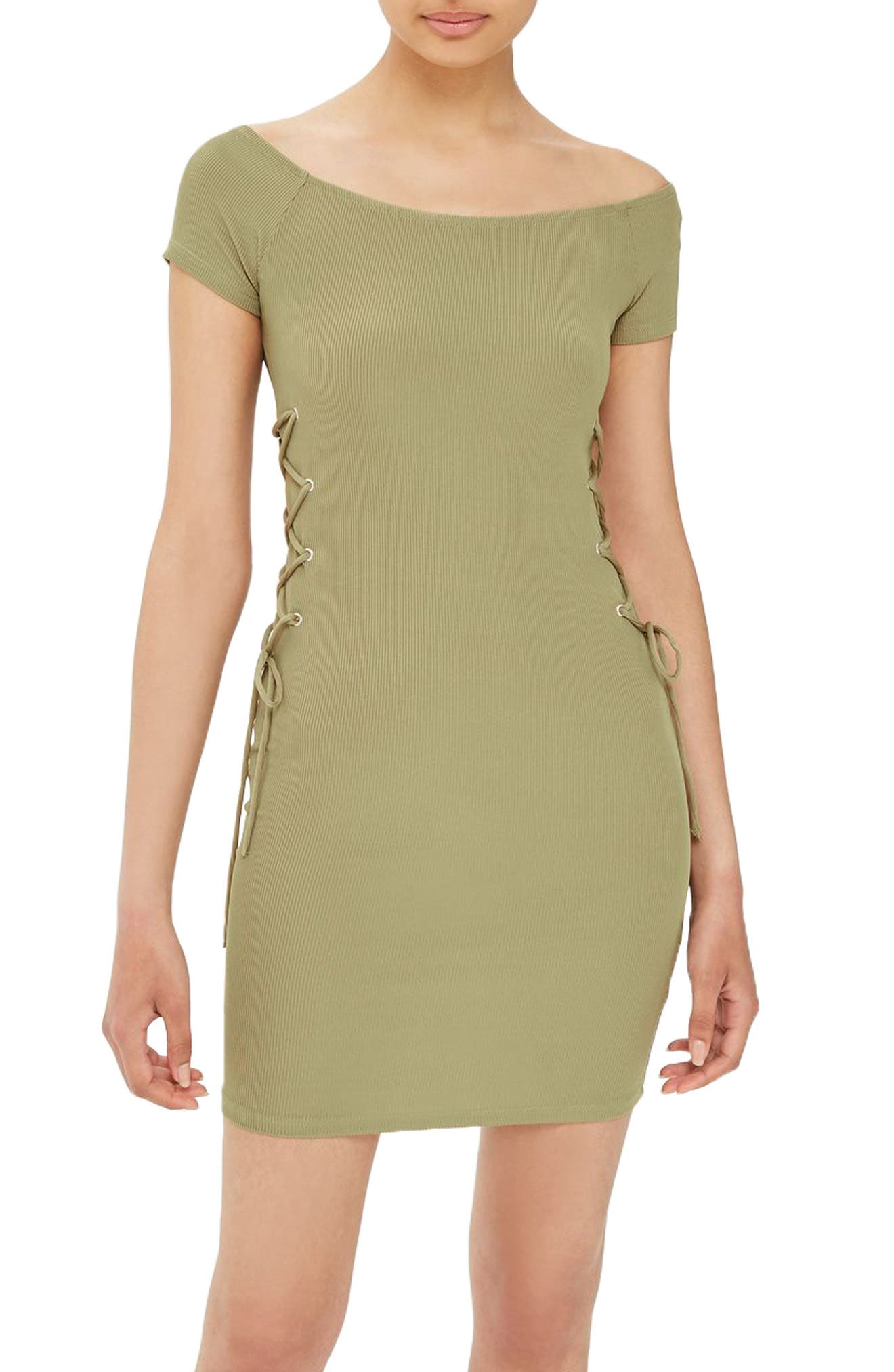 Topshop Lace-Up Side Body-Con Dress