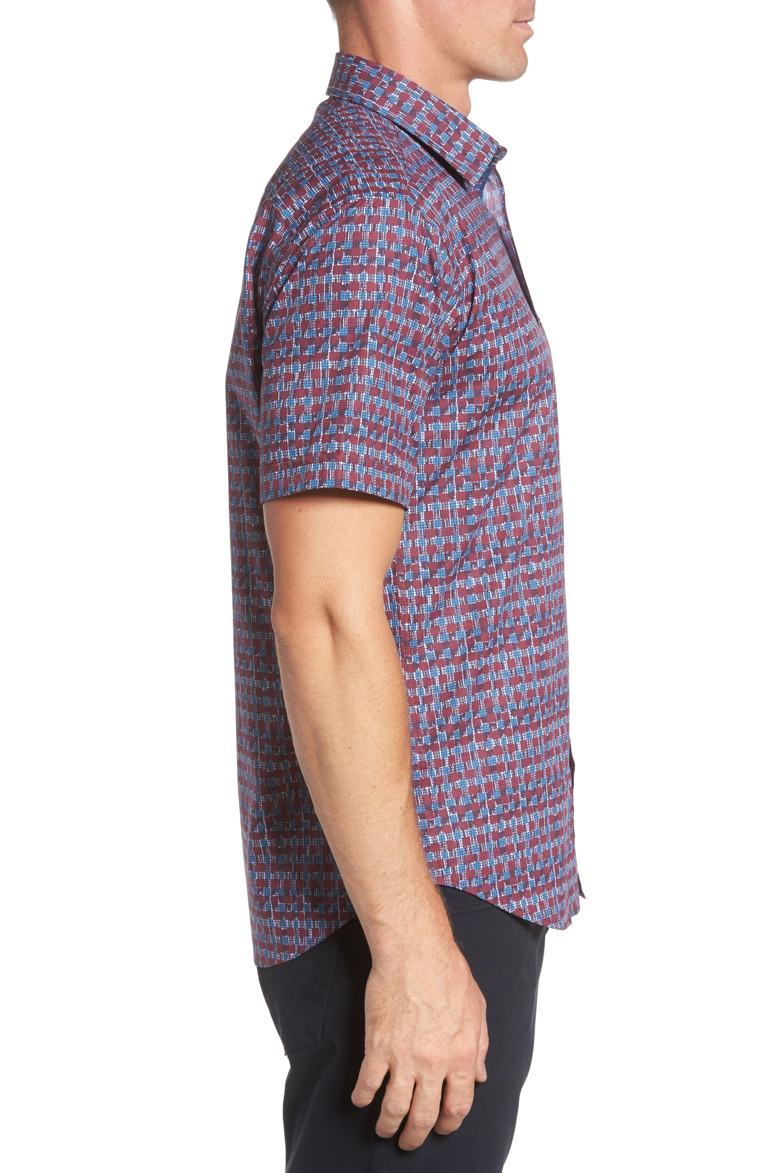Shaped Fit Abstract Check Sport Shirt,                             Alternate thumbnail 3, color,                             Ruby